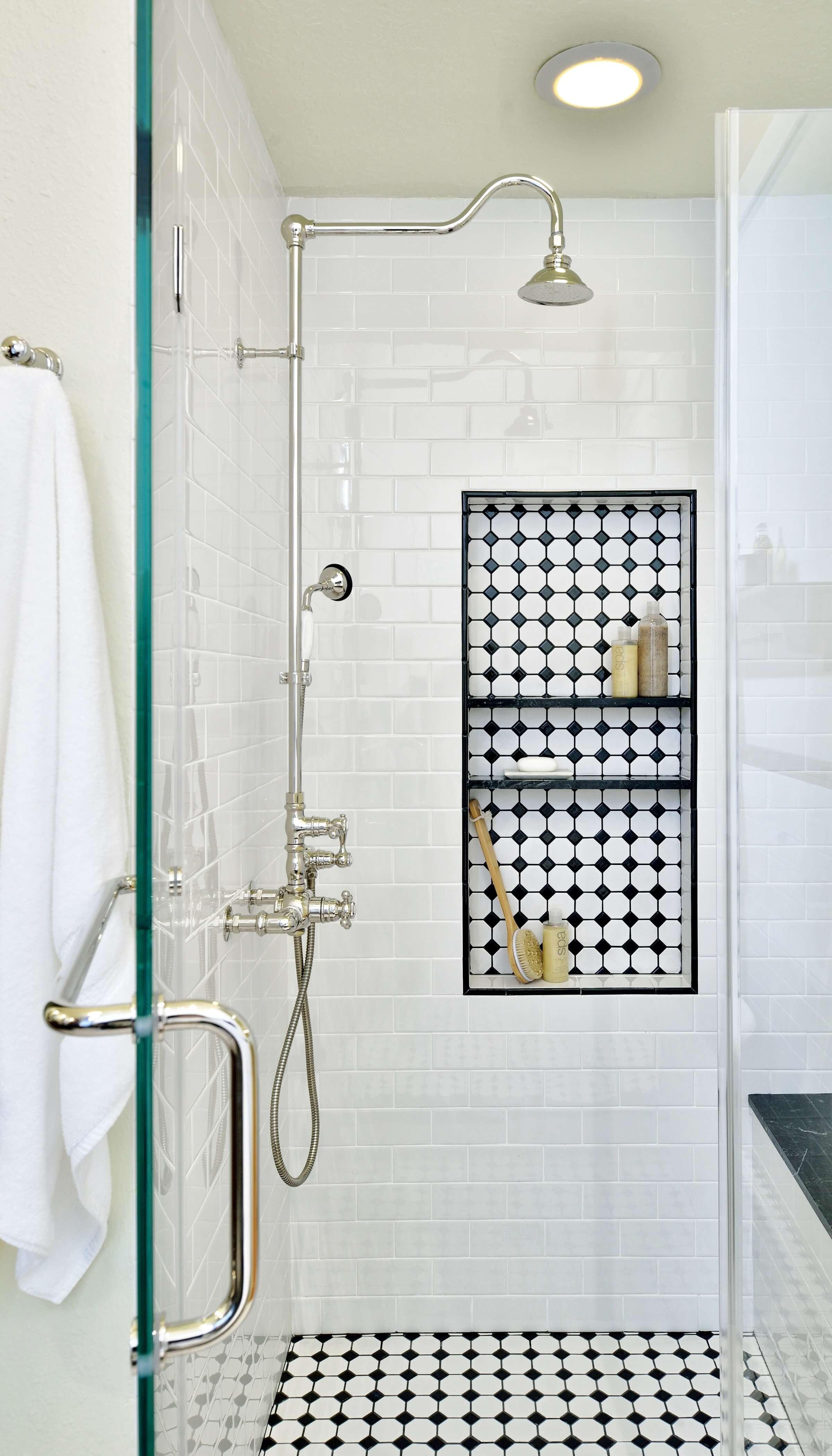 Vintage tile in shower with shampoo niche, Designer: Carla Aston