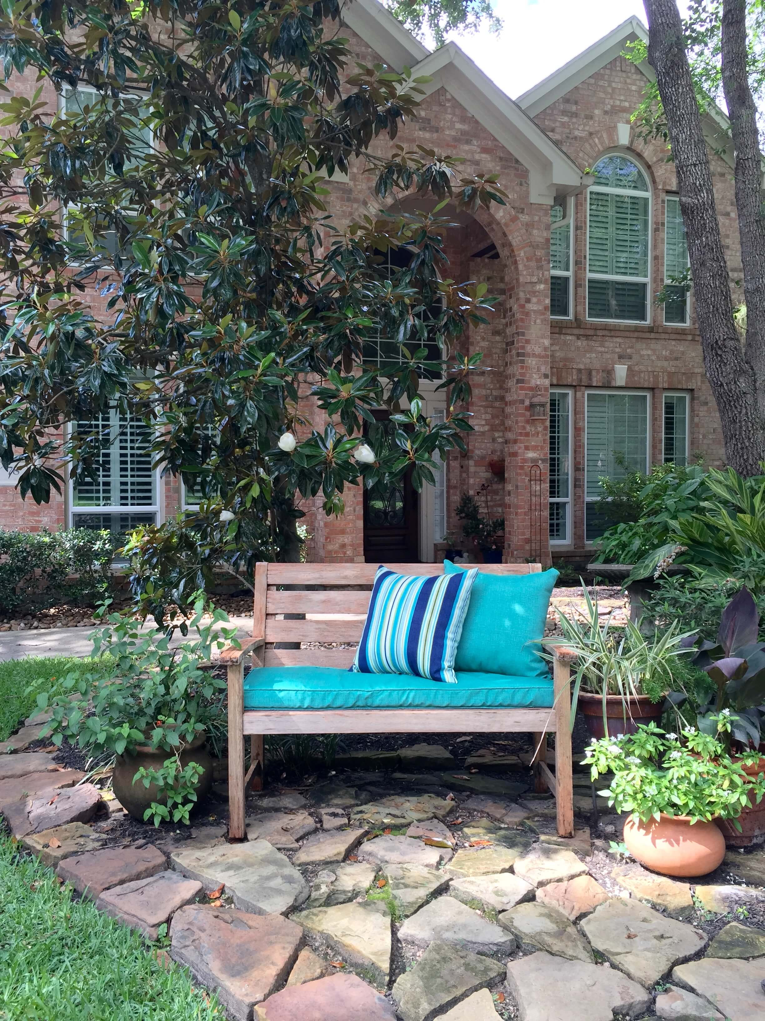 Front yard bench with cushions