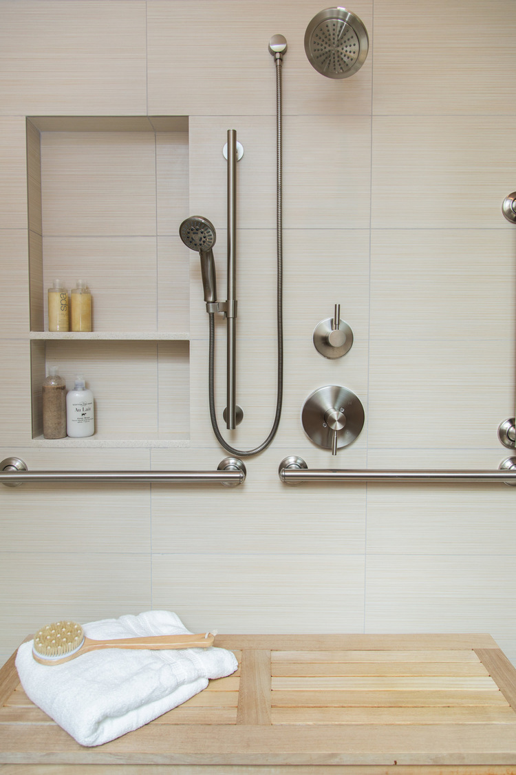 Here's one of my projects where we used grab bars and they didn't take away from the beautifully zen ambience, at all.