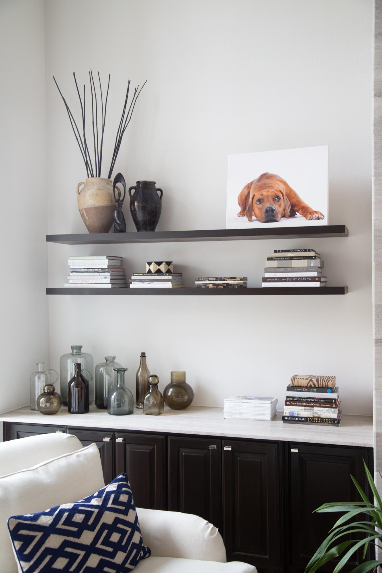 Floating bookshelf styling   Carla Aston, Designer   Tori Aston, photographer