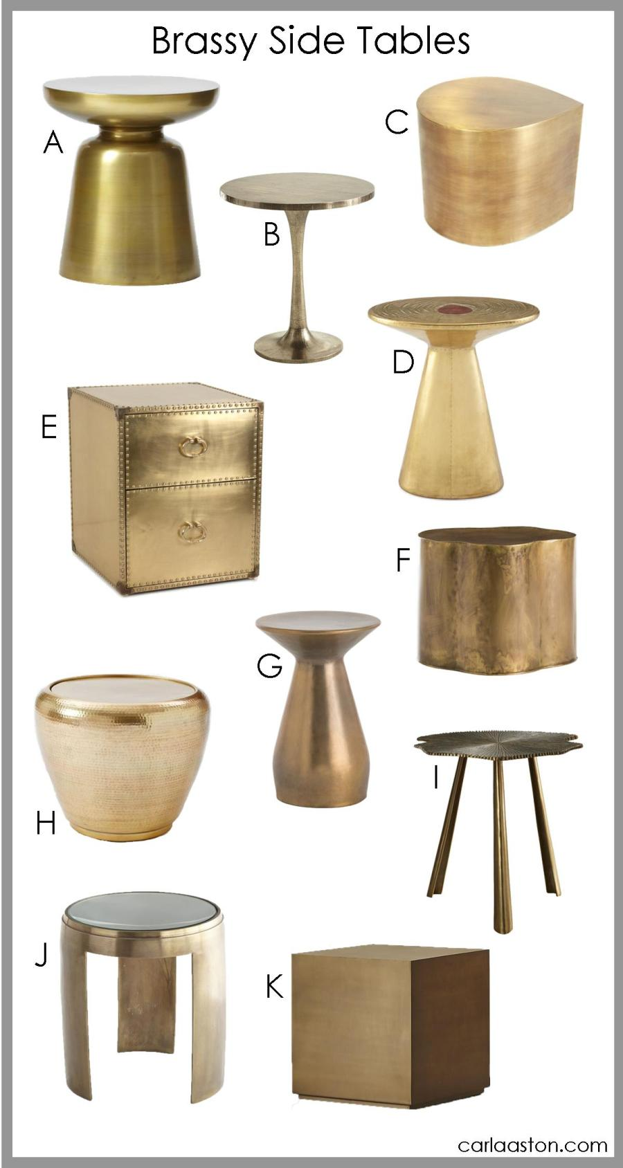 Brass side tables are a timeless, fun home decor accent in any room. #brass #brasshomedecor #sidetable