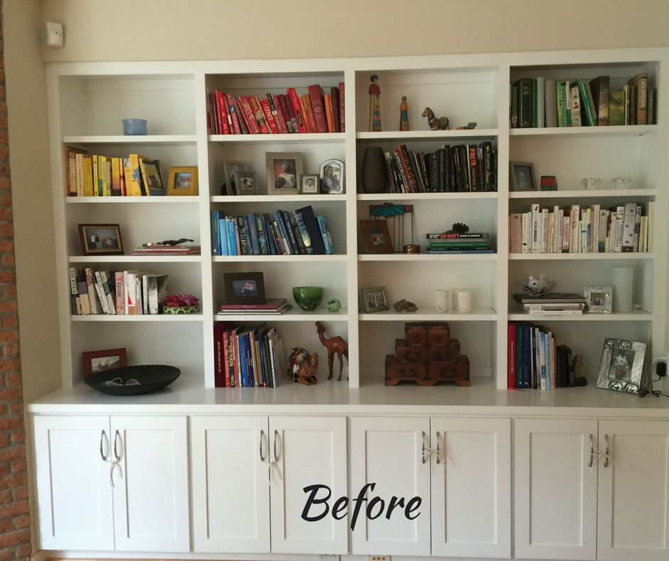 Before - Bookshelf Styling