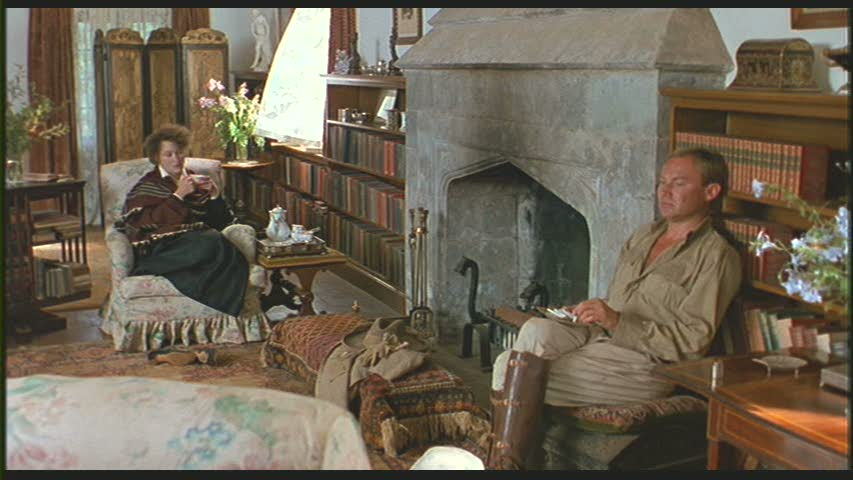 """Karen and Bror in the living room """"from Out of Africa"""""""