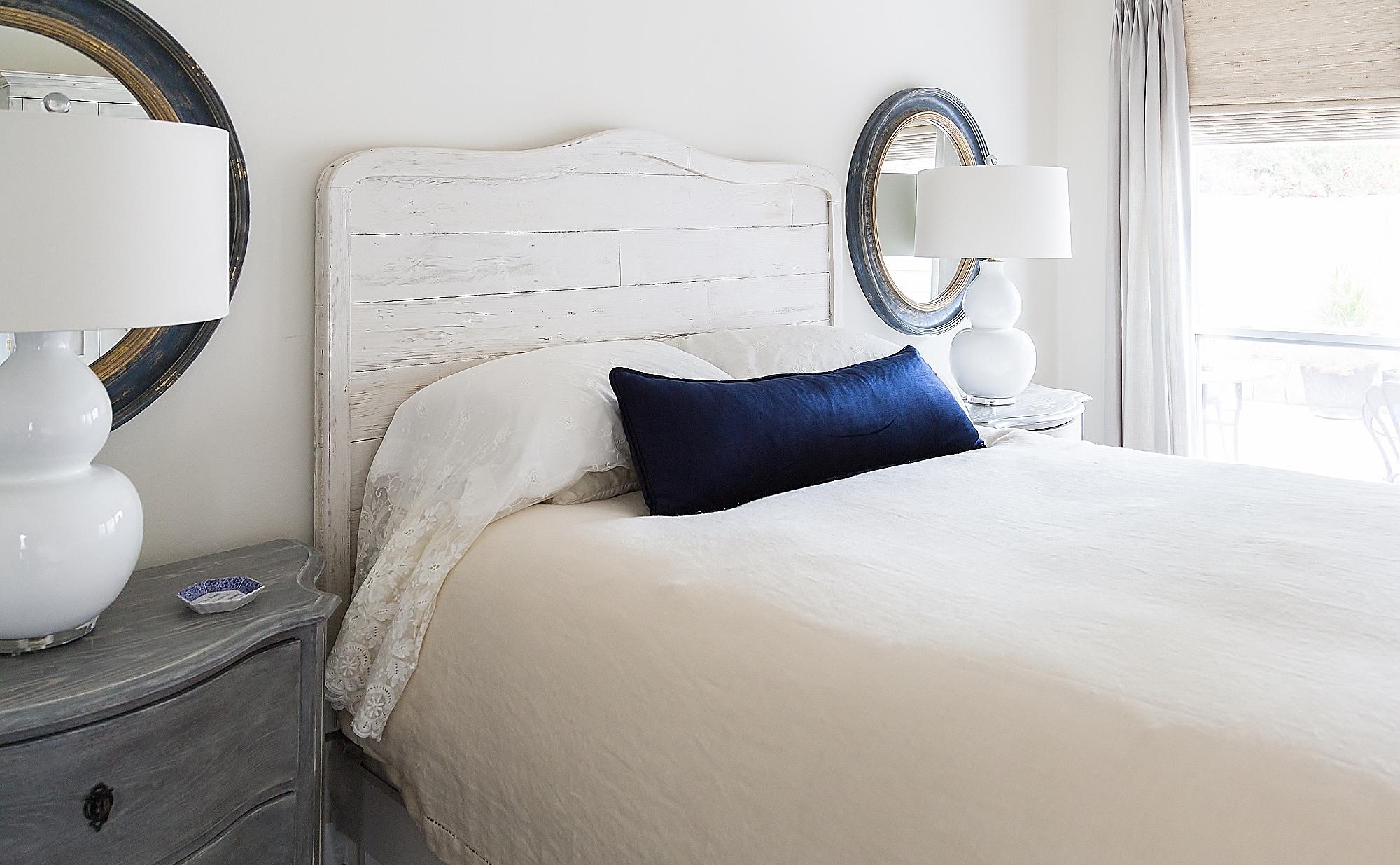 Navy and white master bedroom, Designer: Carla Aston