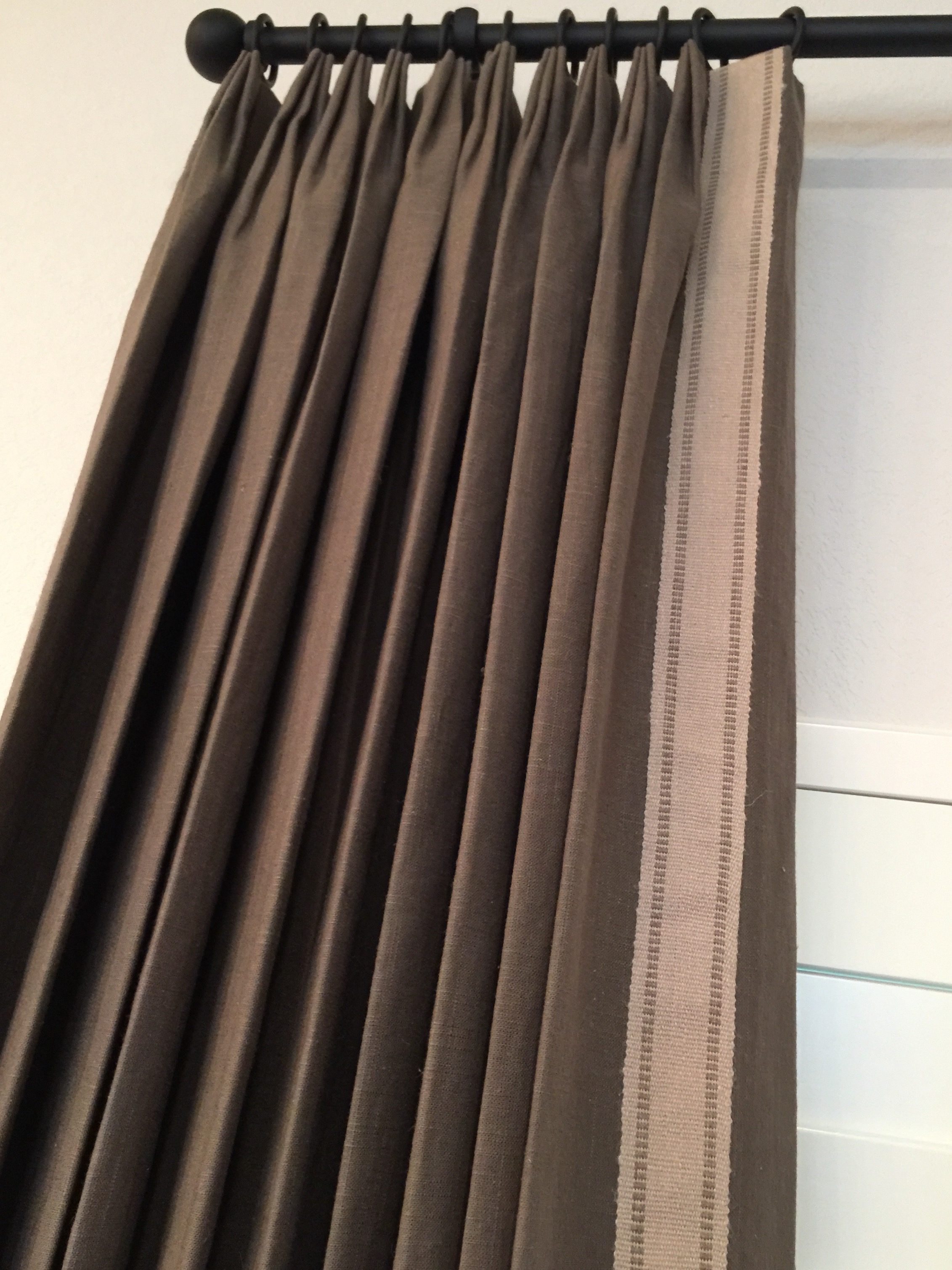 Window treatment with tape trim on leading edge of drapery |  Carla Aston, Designer #windowtreatment #tapetrim #drapery