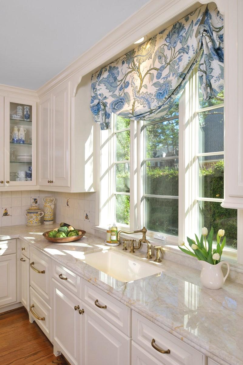 Relaxed Roman Shade Valance in kitchen window  Carla Aston, Designer #valance   #windowtreatment