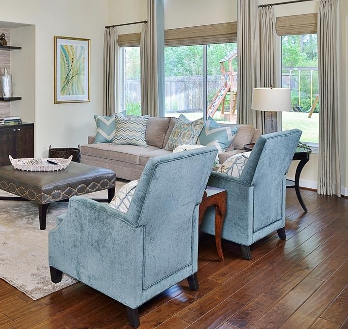 Custom window treatment with woven wood shades  | Carla Aston, Designer #windowtreatment #wovenwoodshade #drapery