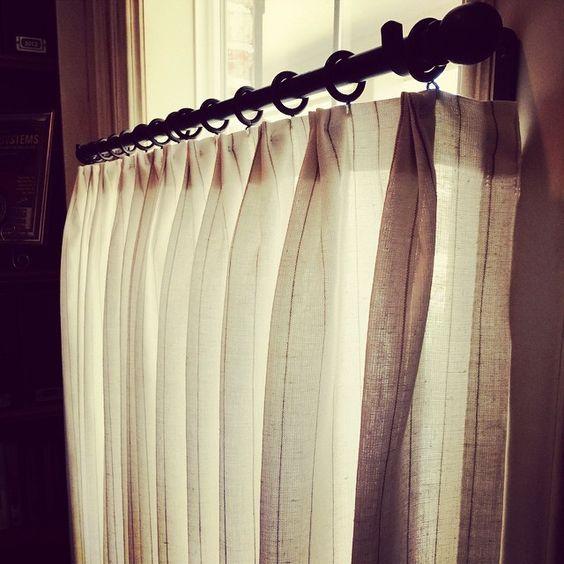 Cafe Curtain in sheer pinstripe fabric  Carla Aston, Designer #cafecurtain
