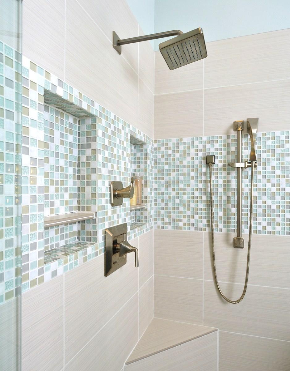 Shampoo niches in bathroom remodel, Designer: Carla Aston