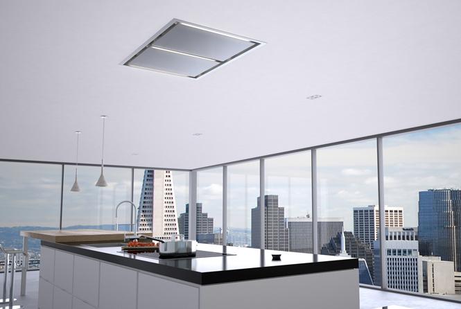 Lux Island hood in ceiling - Zephyr Ventilation