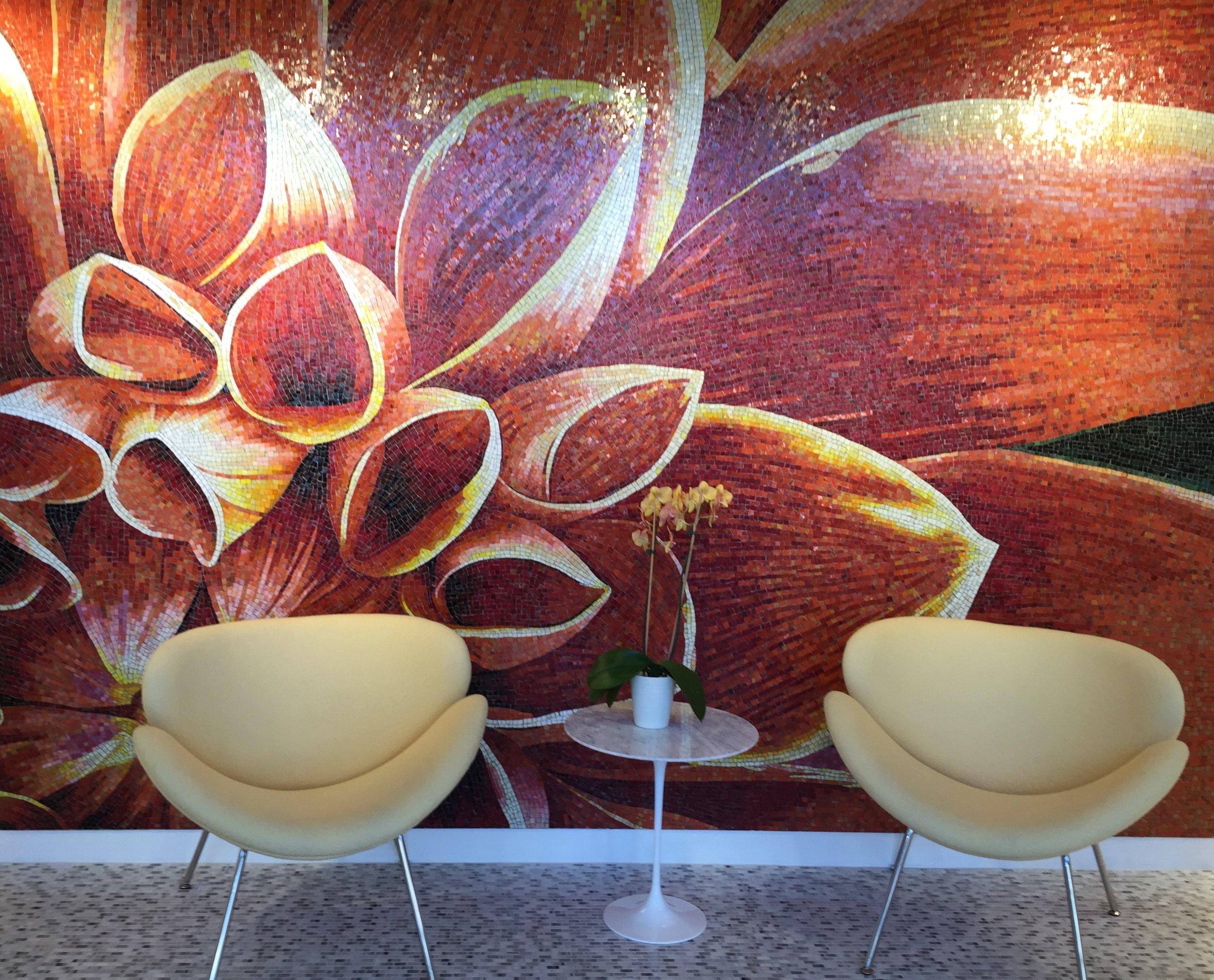 The dahlia mosaic tile mural at Daltile, San Francisco