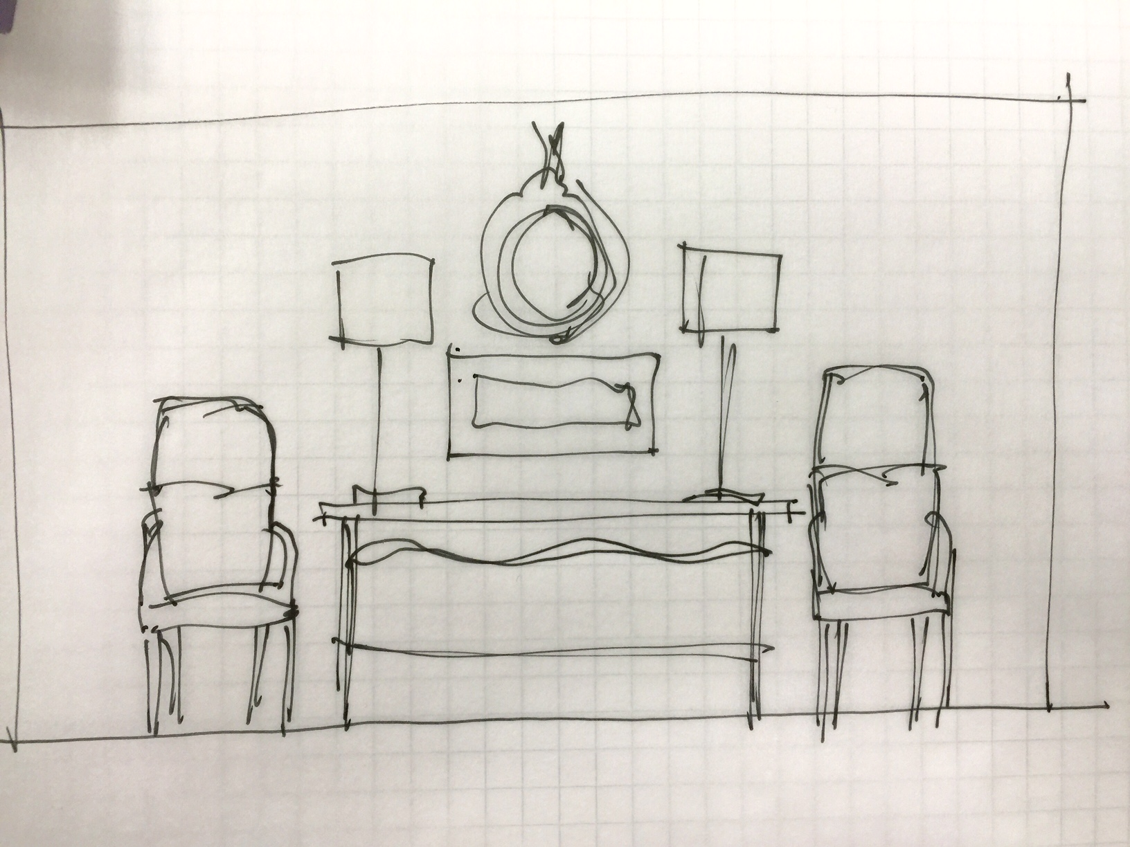 Sketch of home decor shop window layout