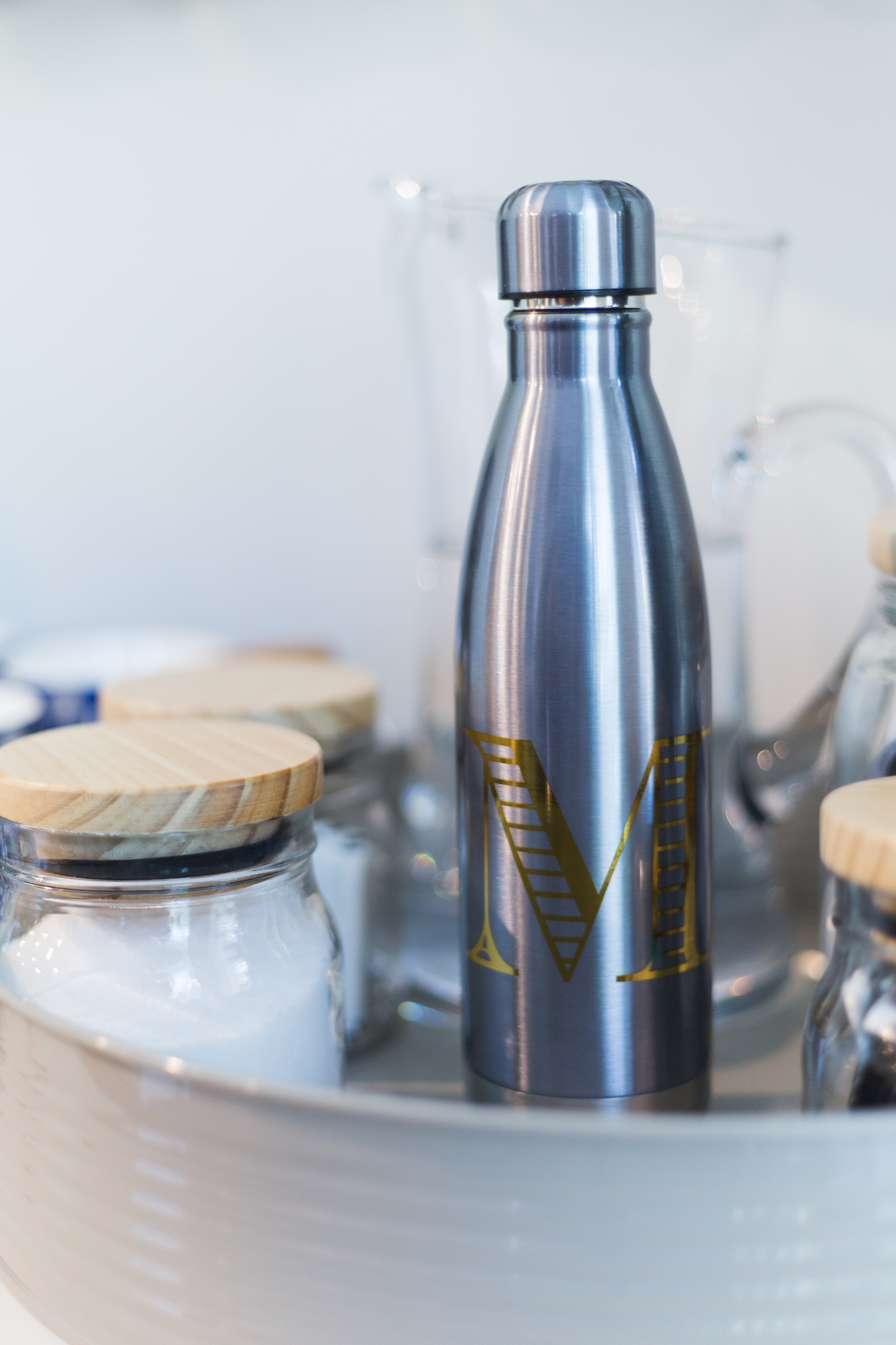 "Coffee bar station - insulated flask with ""M"" for Milk from At Home stores"