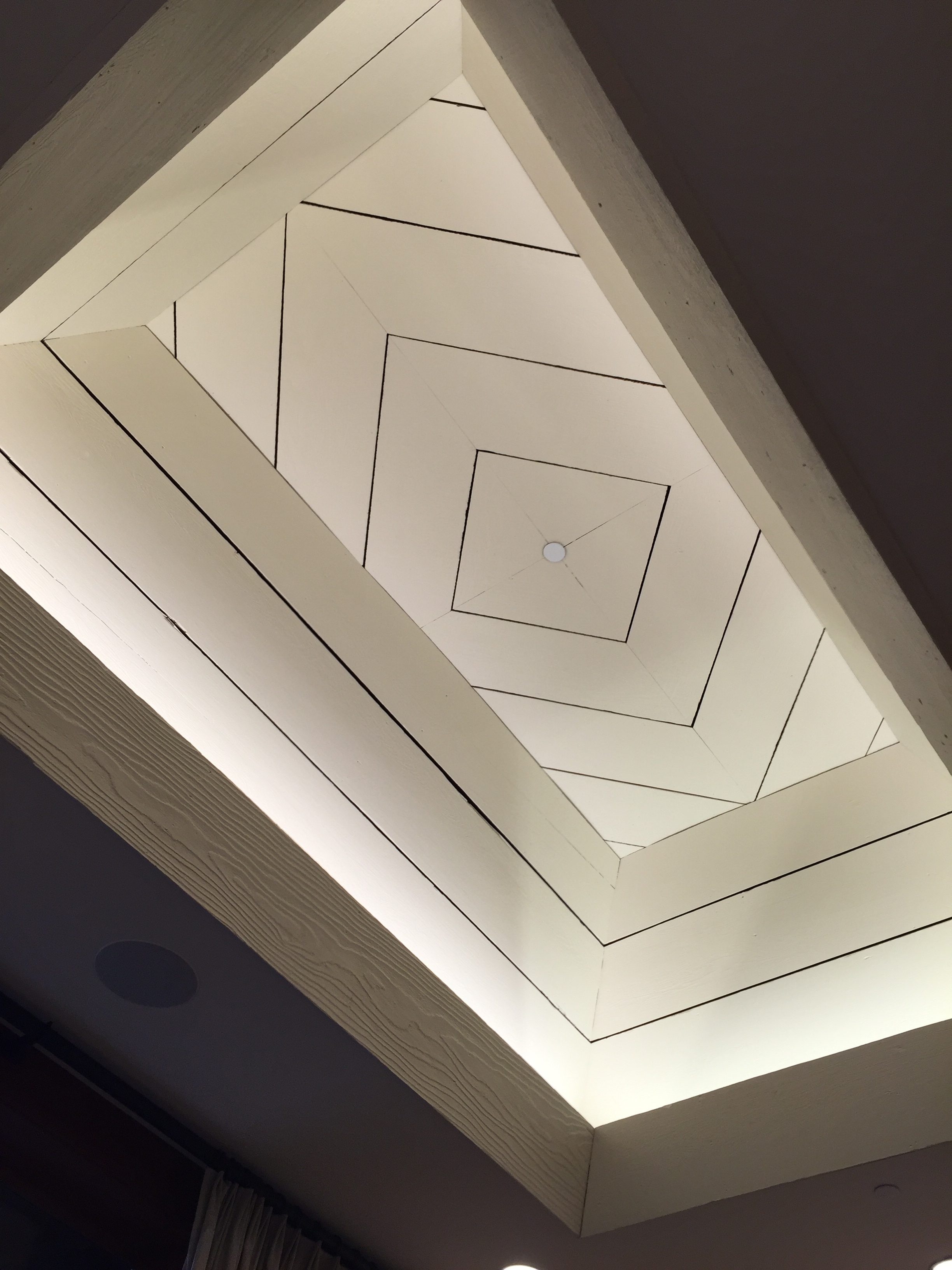 Shiplap ceiling detail in one of the tasting rooms