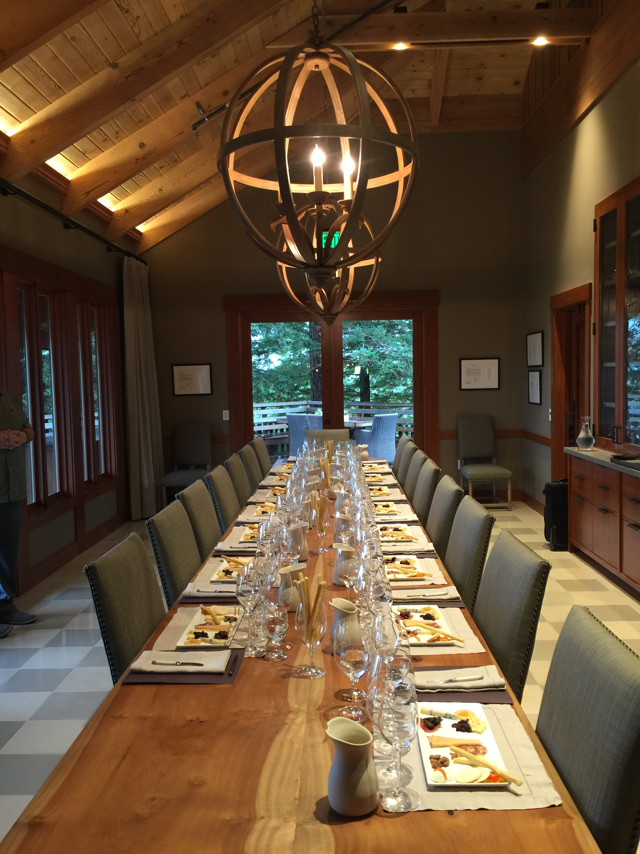Our tasting room was all prepared. Love all the wood details and subtle checkerboard floor. That table!