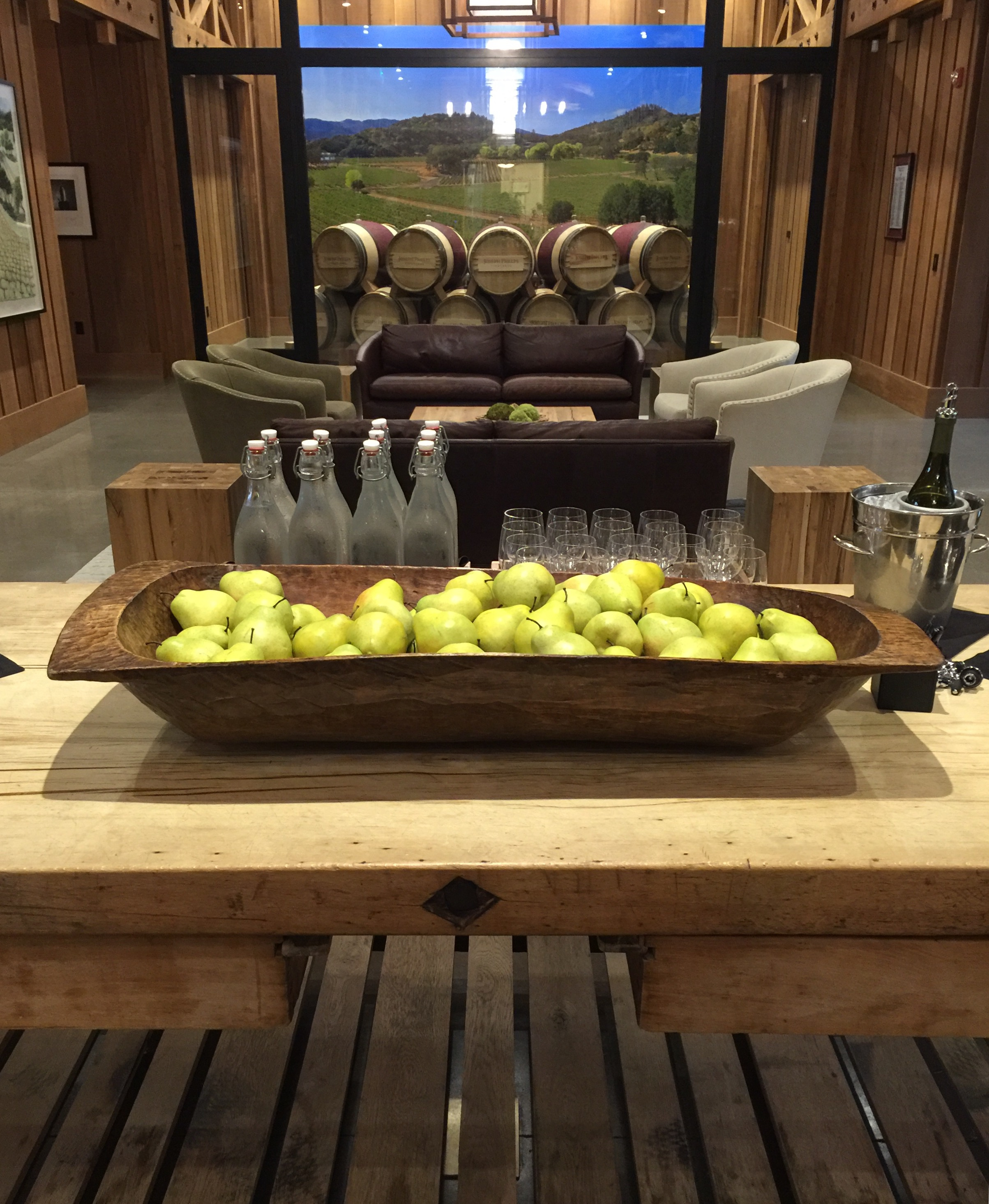 The Great Hall at Joseph Phelps Vineyard Winery with view of The Barrel Room