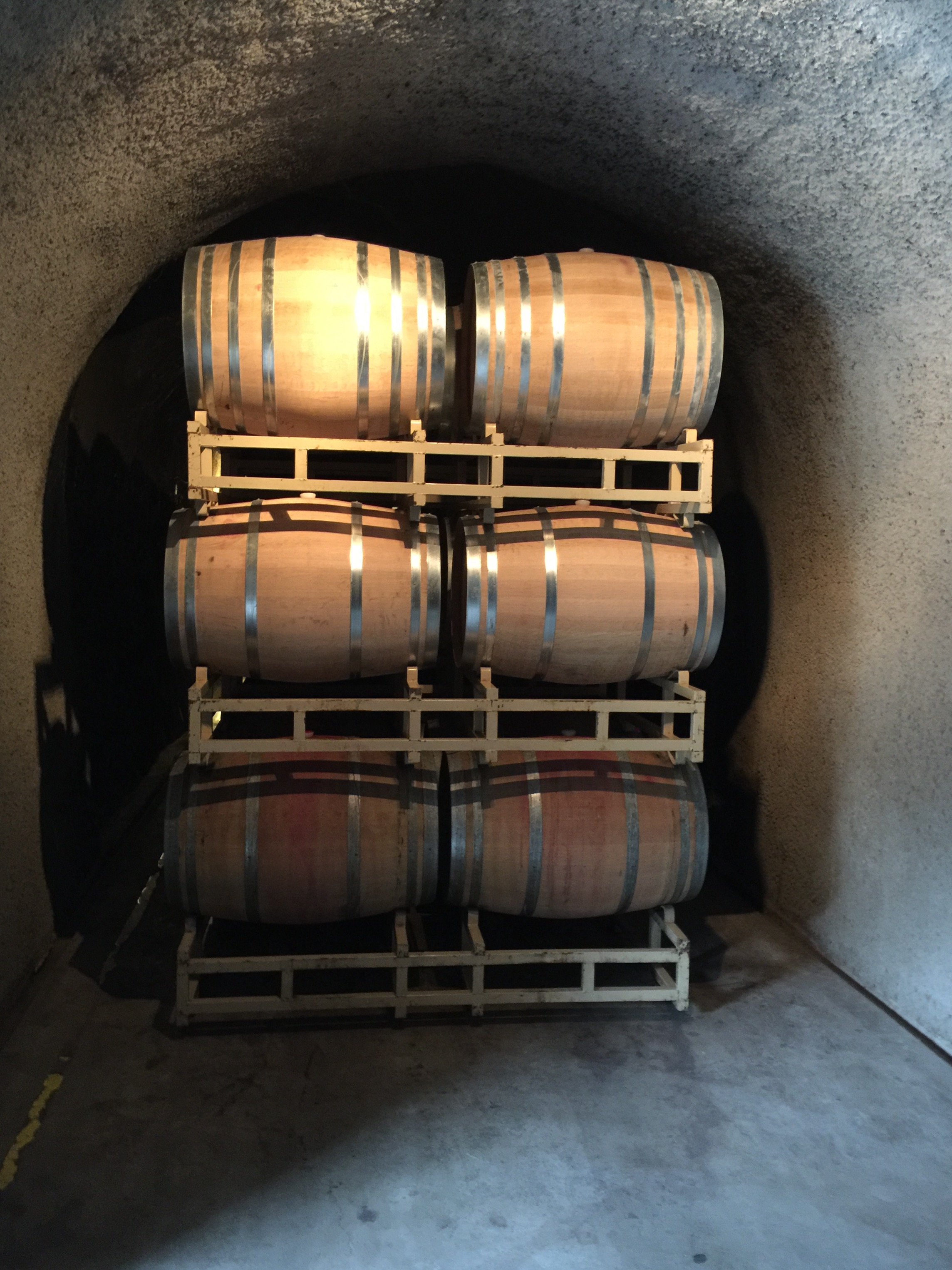 Wine barrels in the caves at Rutherford Hill