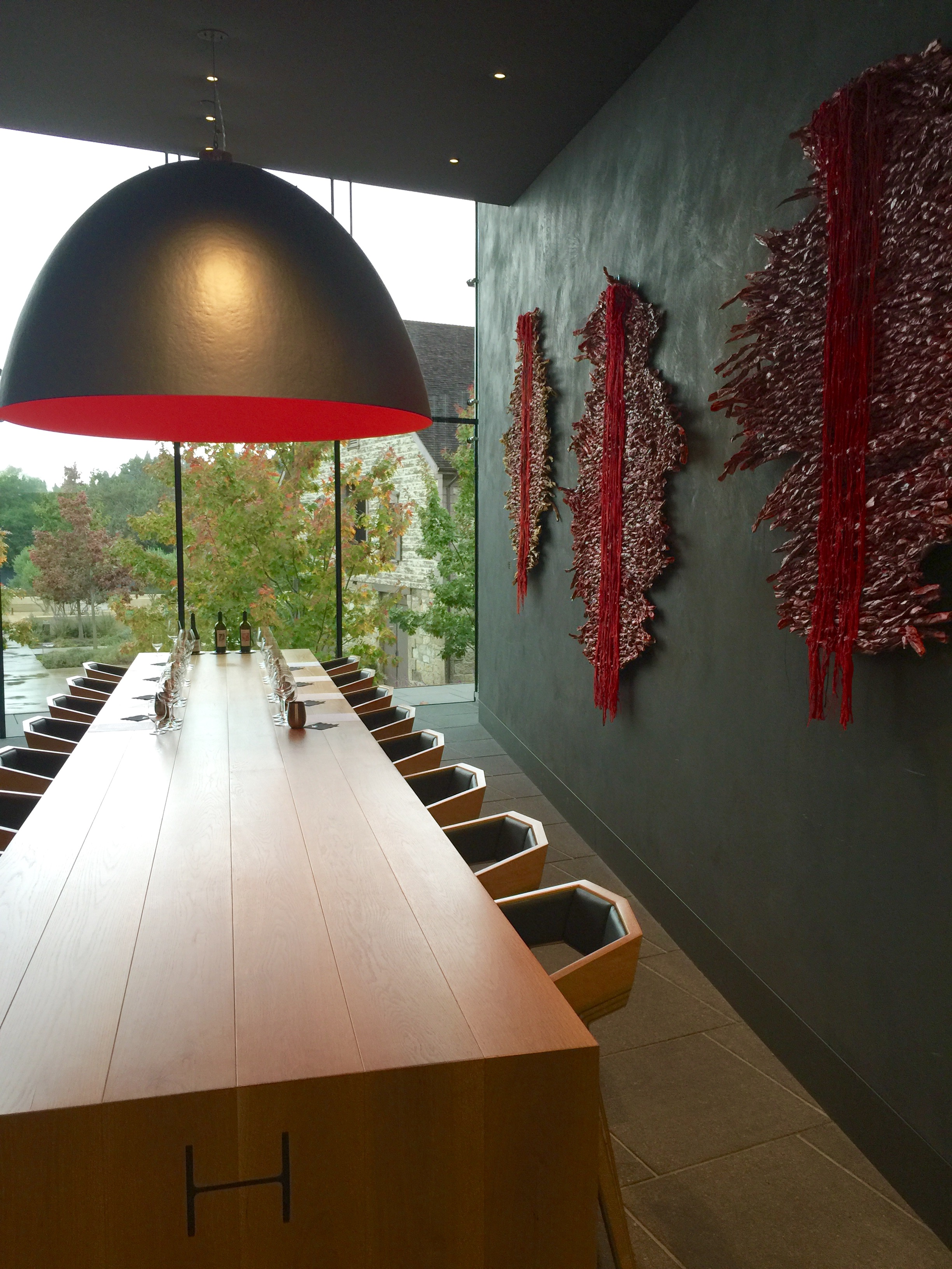 One of the tasting rooms upstairs in the modern building.