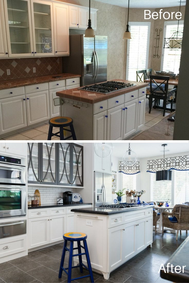 BEFORE AND AFTER - Kitchen Remodel Reveal / Designer: Carla Aston, After Photo: Tori Aston