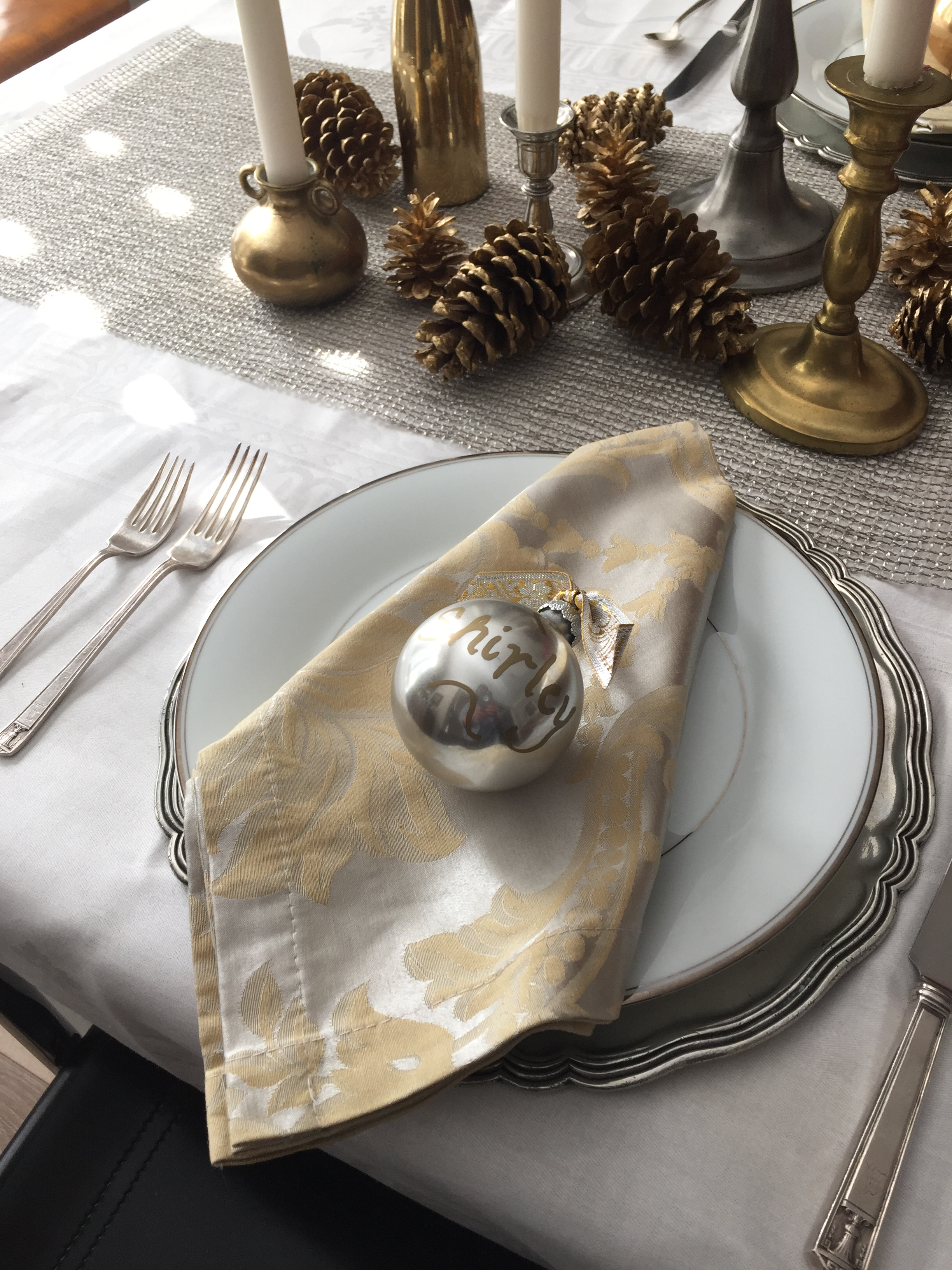 Christmas holiday tabletop with silver and gold