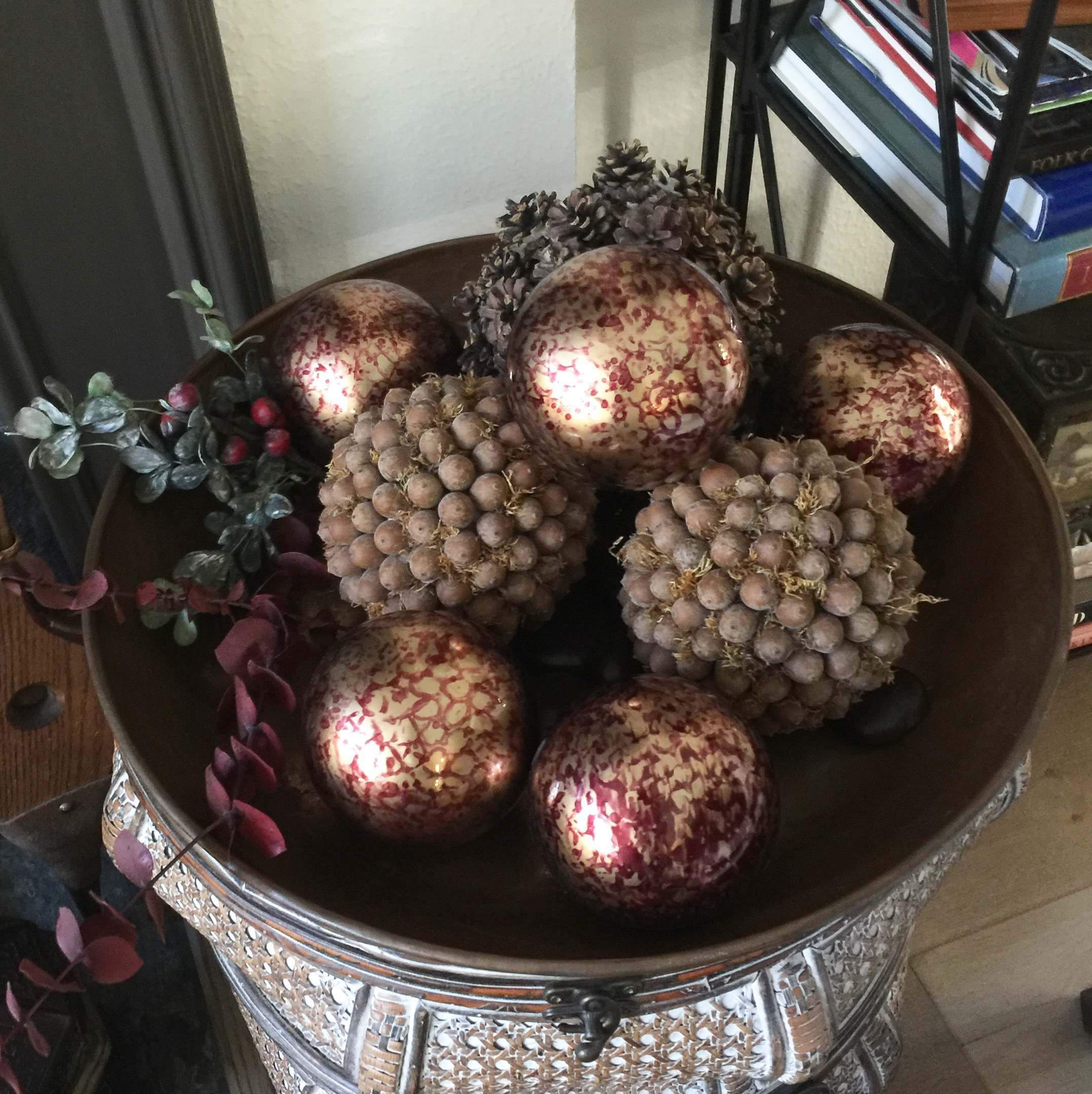 Ornaments and acorn balls in bowl- holiday decor