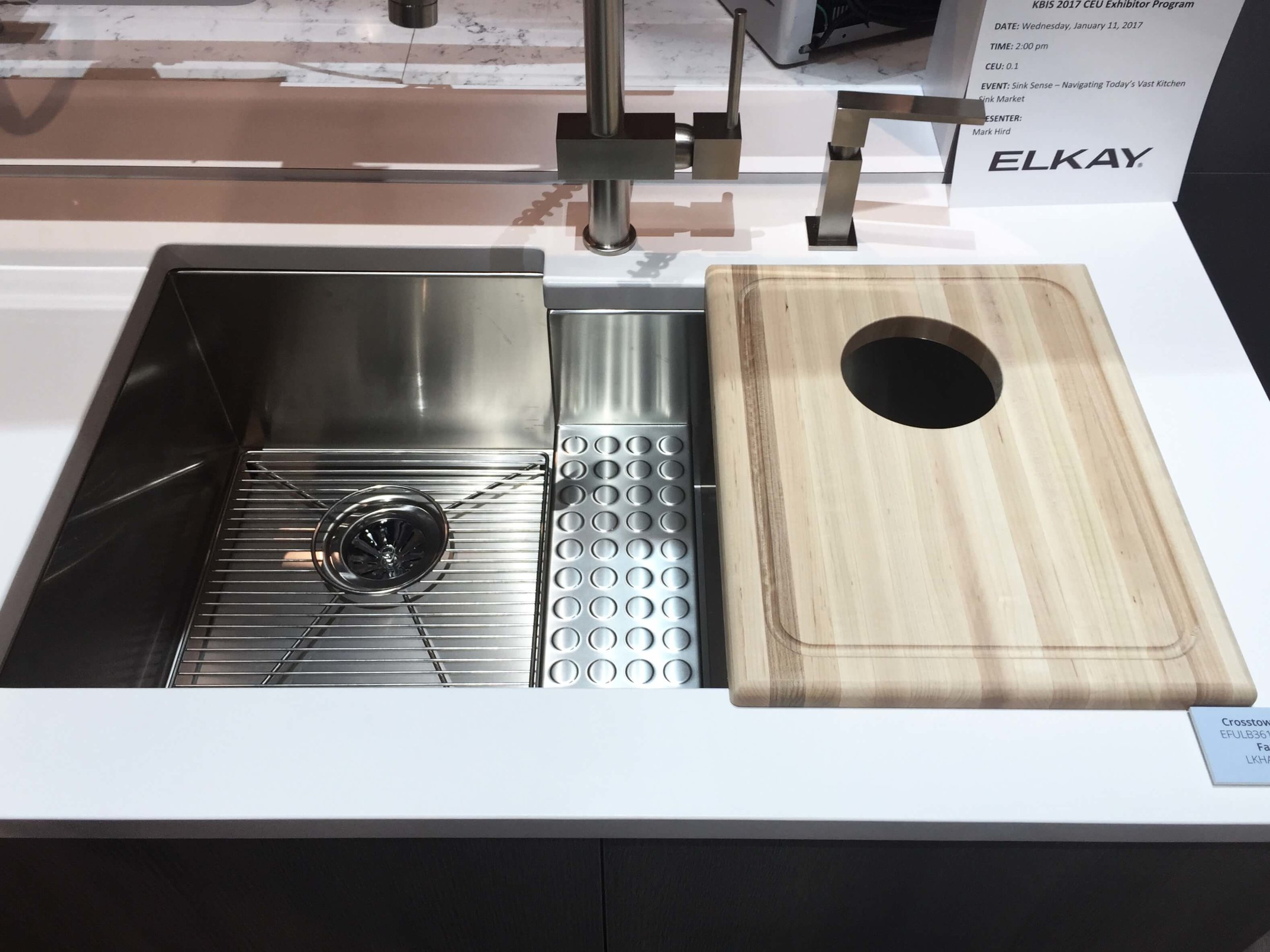 Elkay stainless steel sink with cutting board