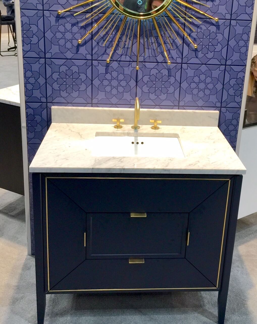 Ronbow vanity at KBIS 2017, blue with brass inlay