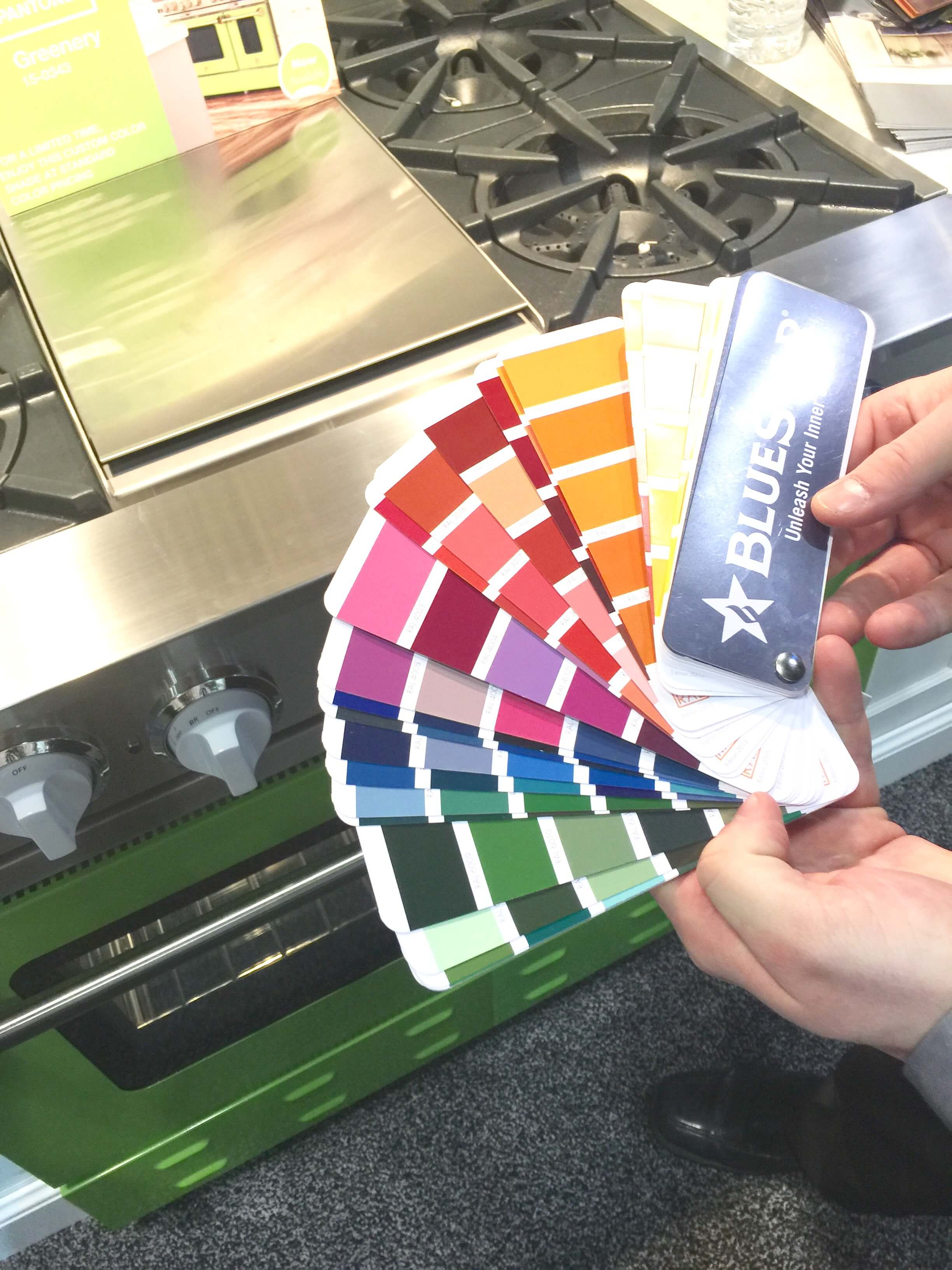 Many colors to choose from for your Blue Star appliances.
