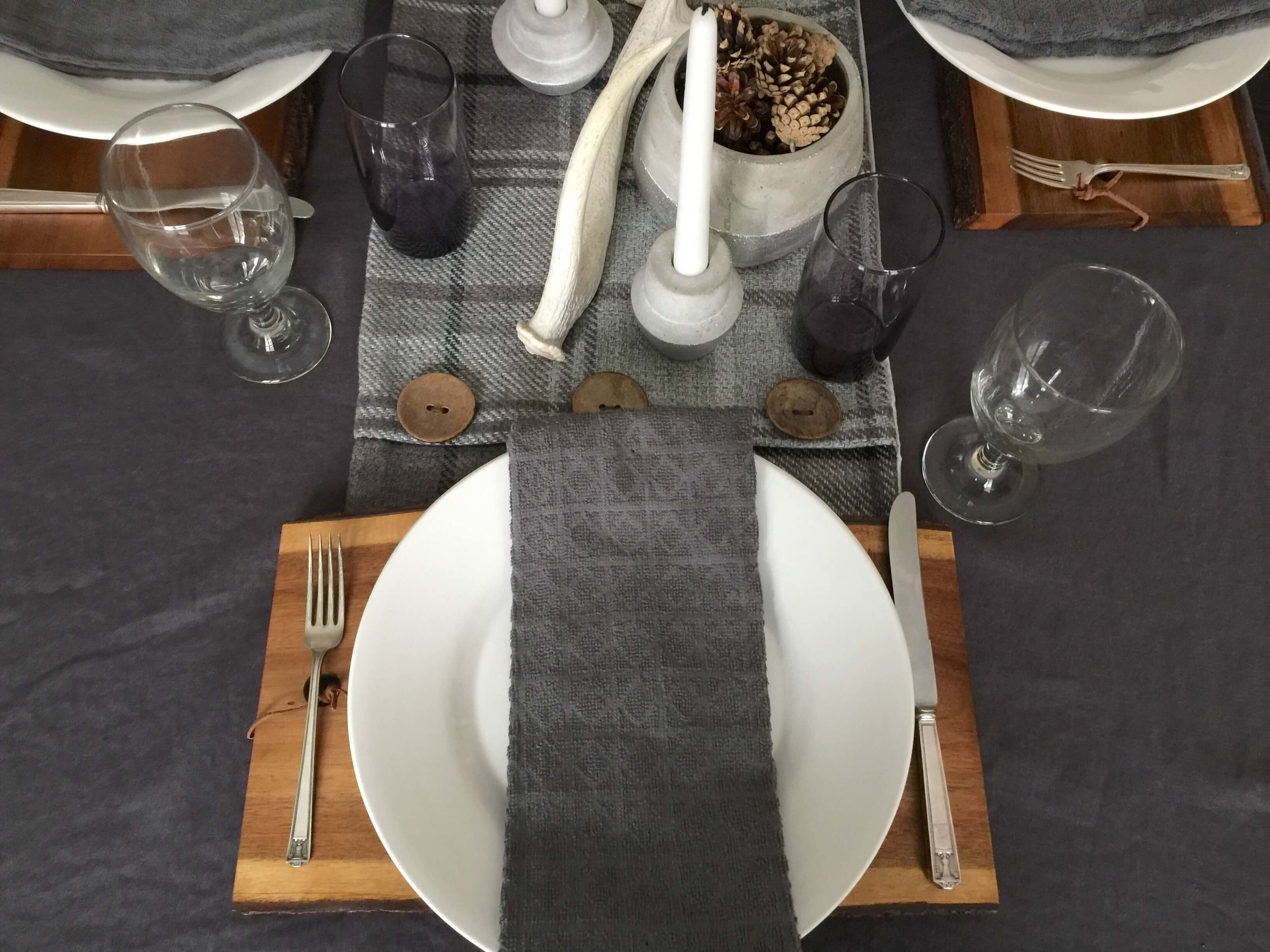 Winter Tabletop with grays and white | Carla Aston