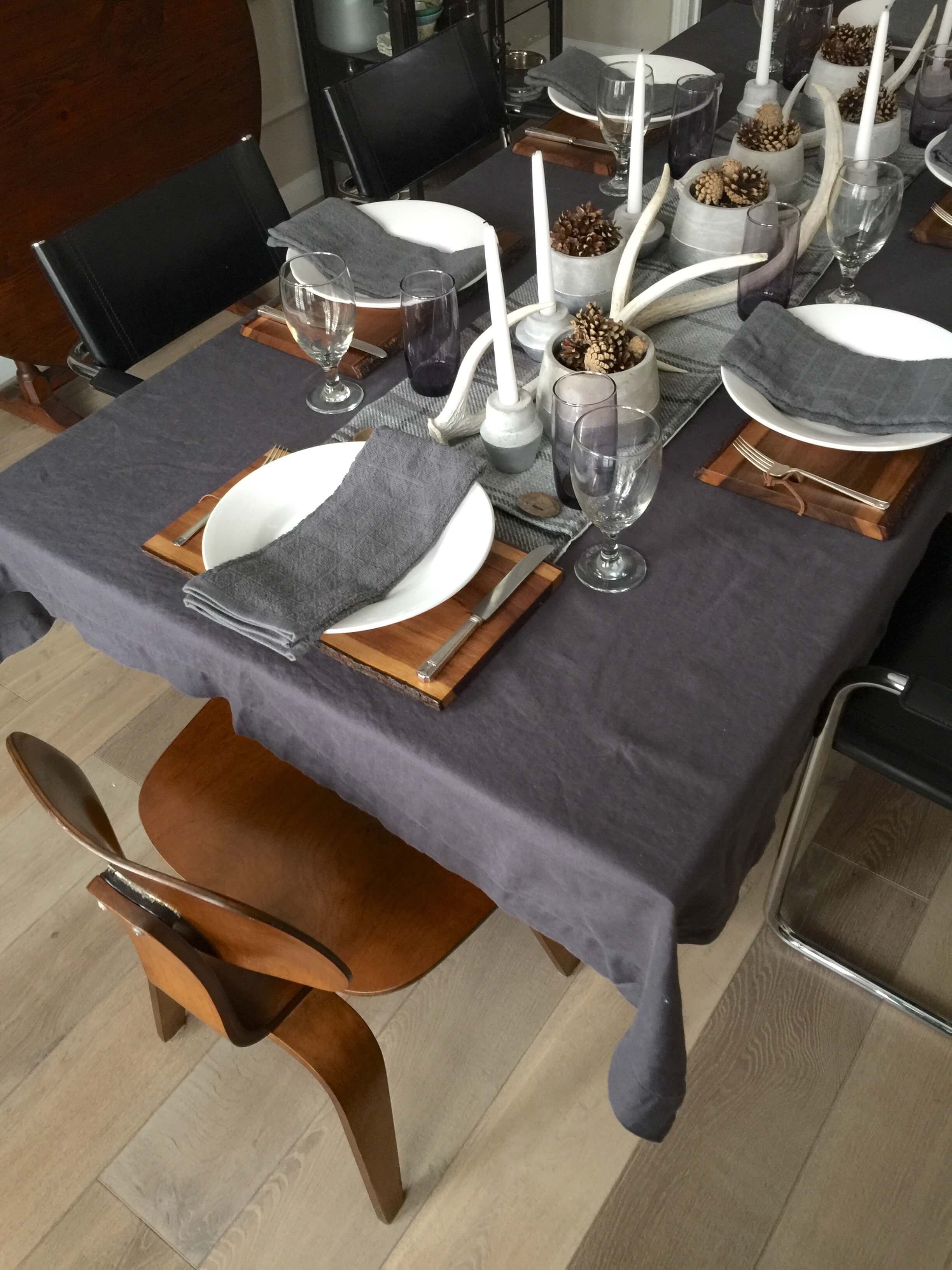 Winter tabletop in gray and white with wood cutting boards | Carla Aston