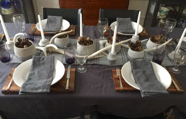 Winter tabletop decor in gray and white with wood cutting board | Carla Aston