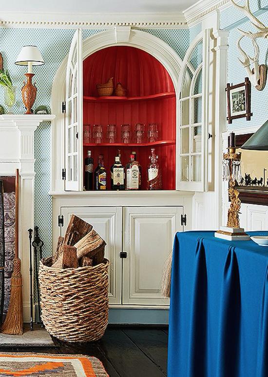 Red inside cabinetry - Designer:  Jeffrey Bilhuber , Image via:  Zhush blog