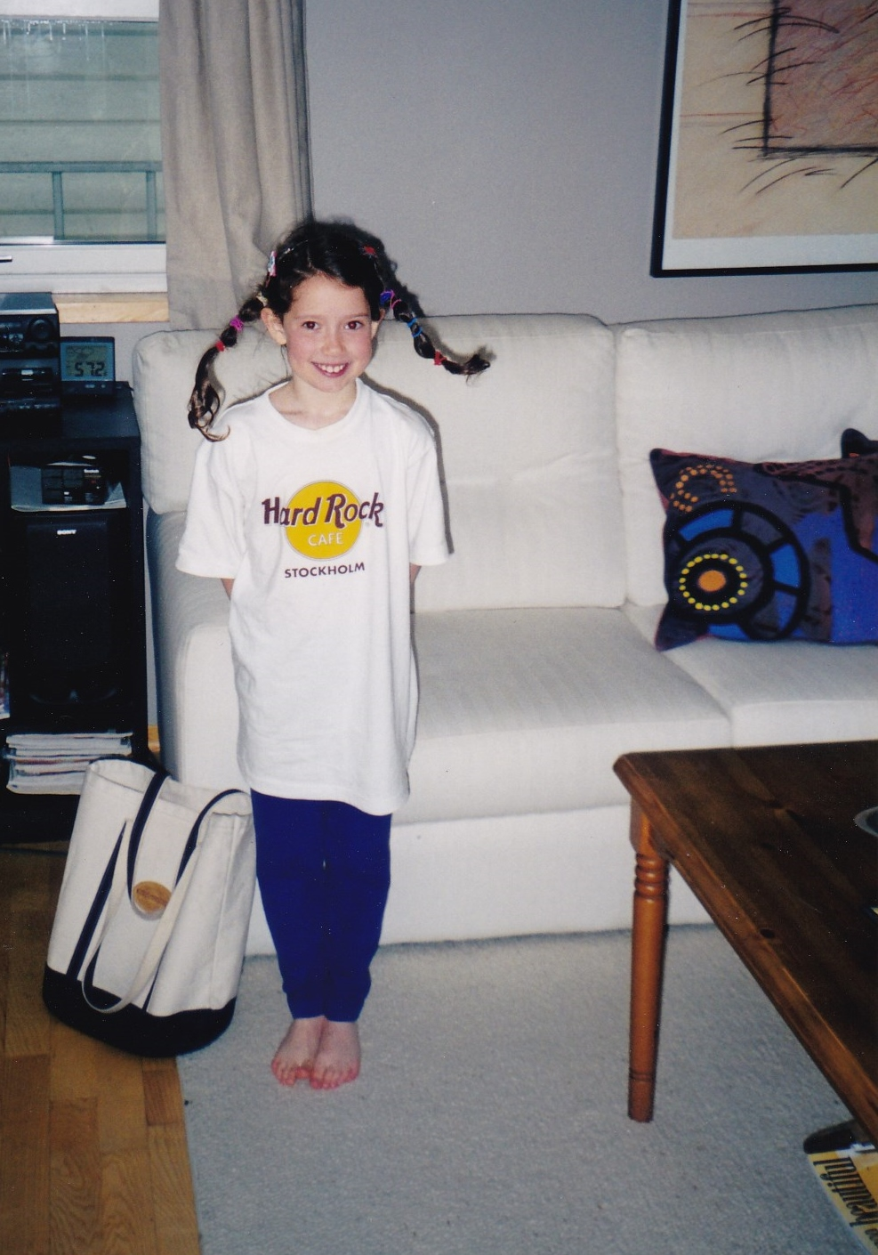 AND...here's my daughter by the tall coffee table, then around 6 years old, dressed up as Pippi Longstocking. I gotta embarrass the whole family equally, you know?