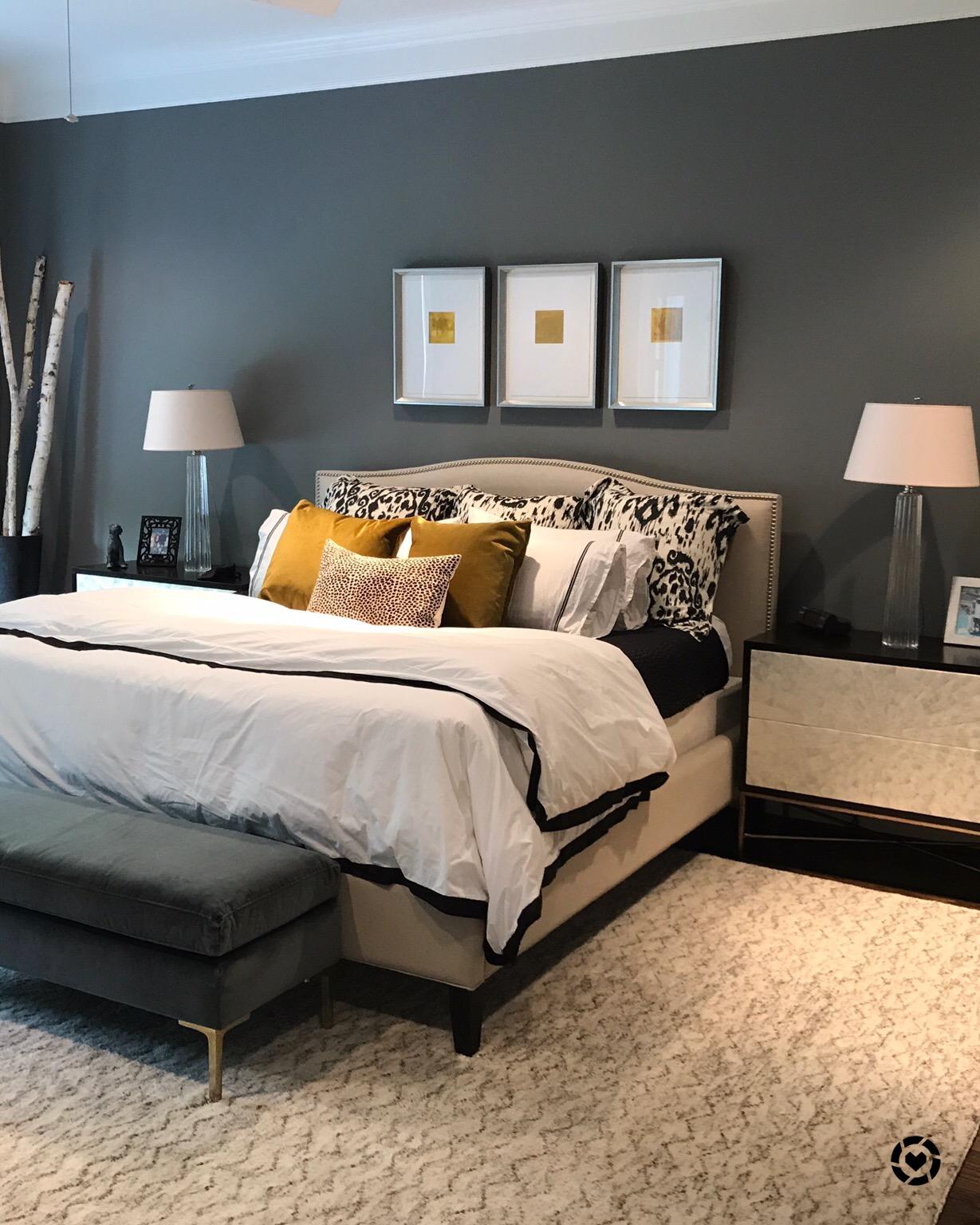 Gray and beige master bedroom | Designer Carla Aston