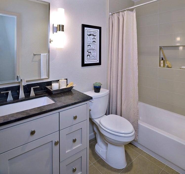 Guest bath with large subway tile