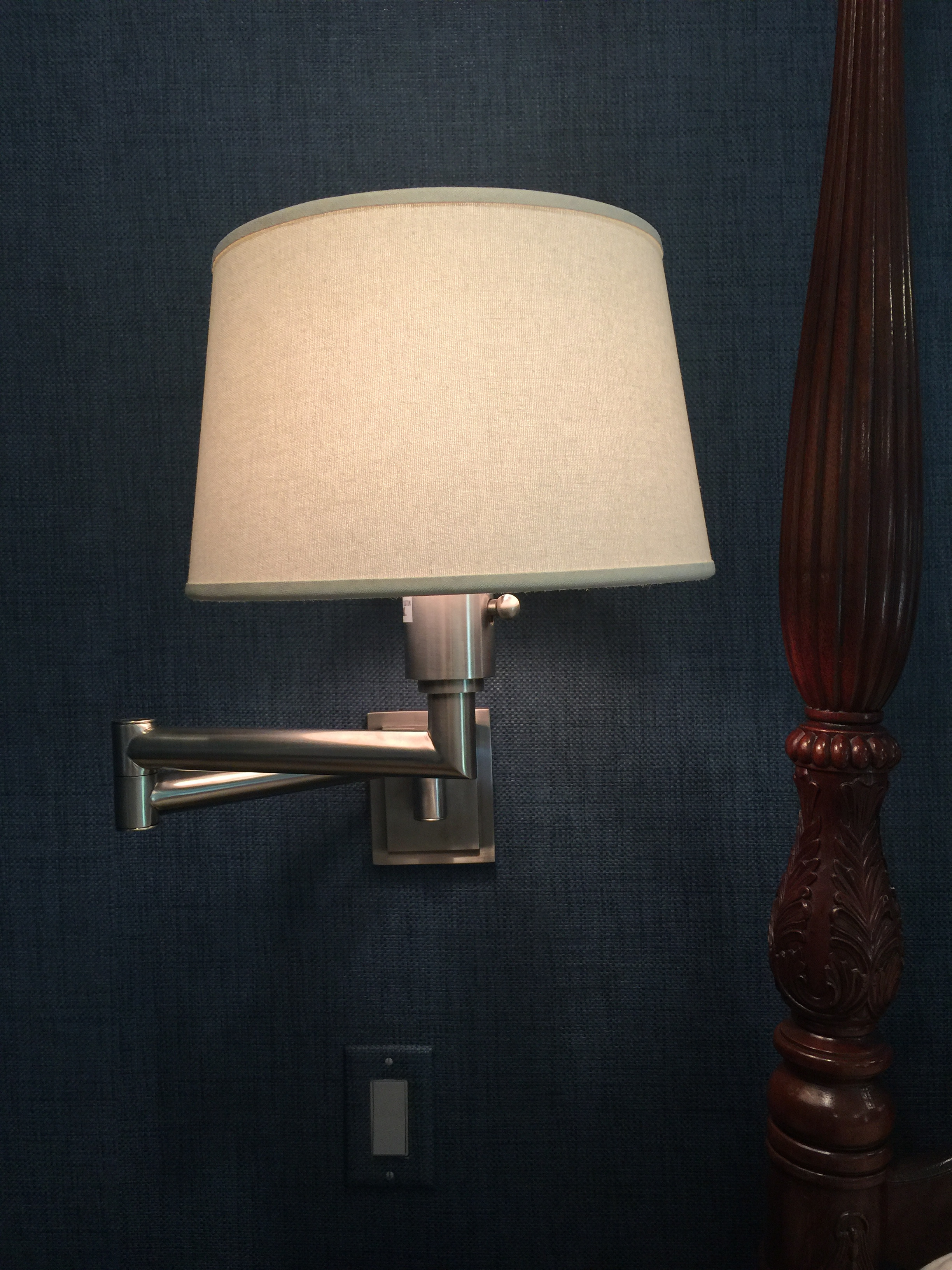 Wall mount lamps with dimmers on grasscloth wallcovering - Designer: Carla Aston