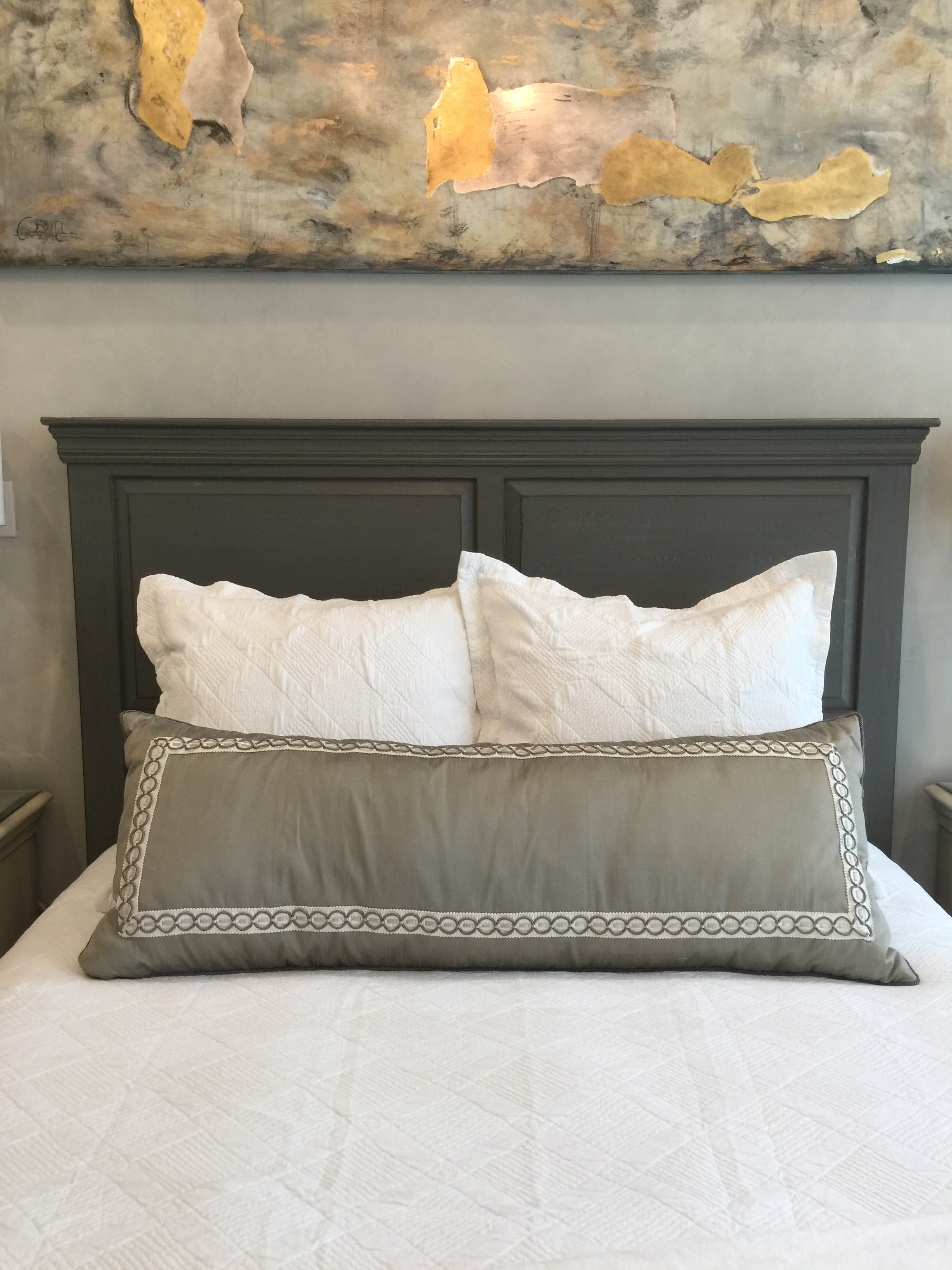Guest Bedroom designed by Cristina Robinson with art by her as well.