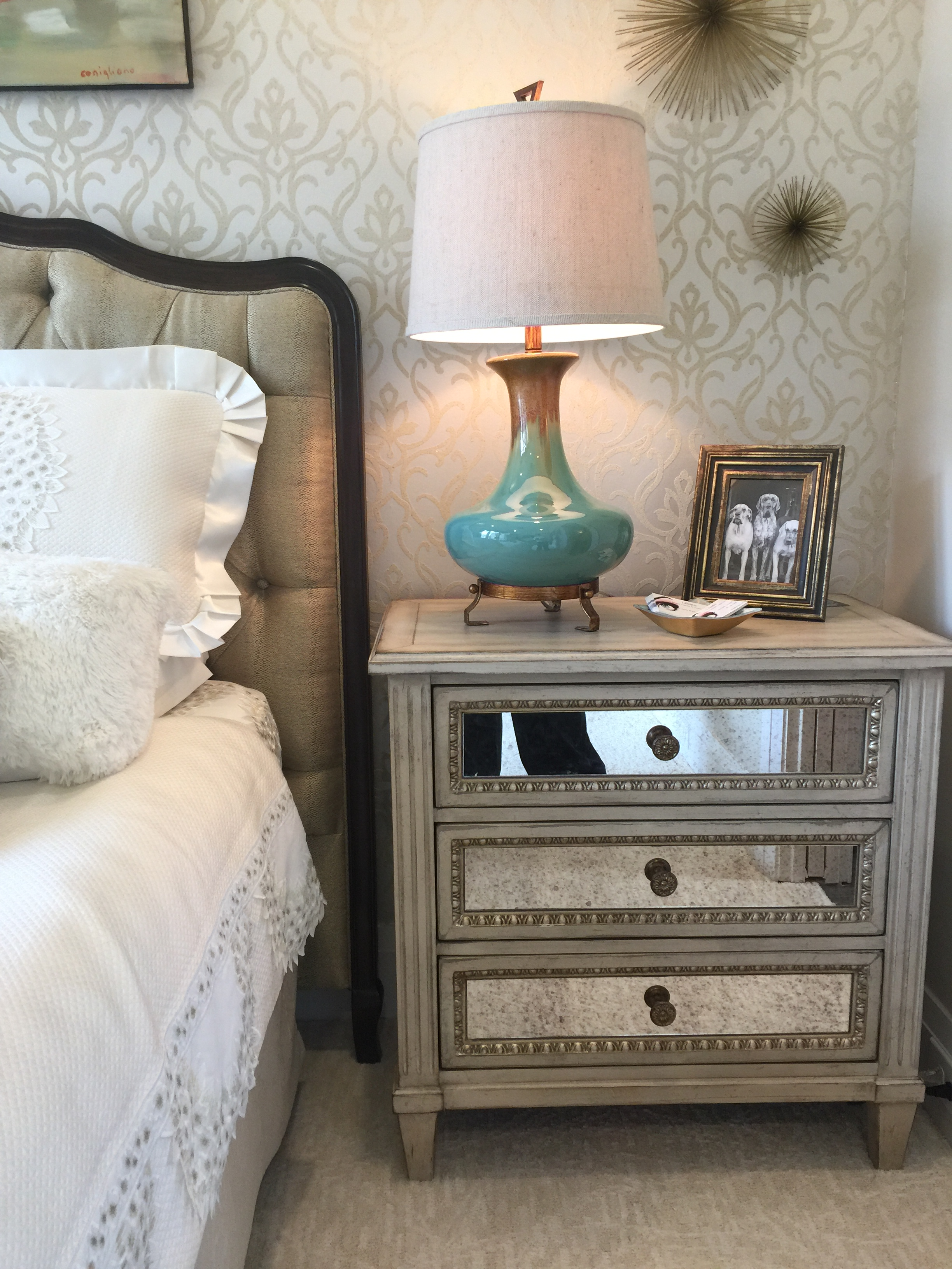 Guest house guest bedroom designed by Ida Creech and Susan Bryant