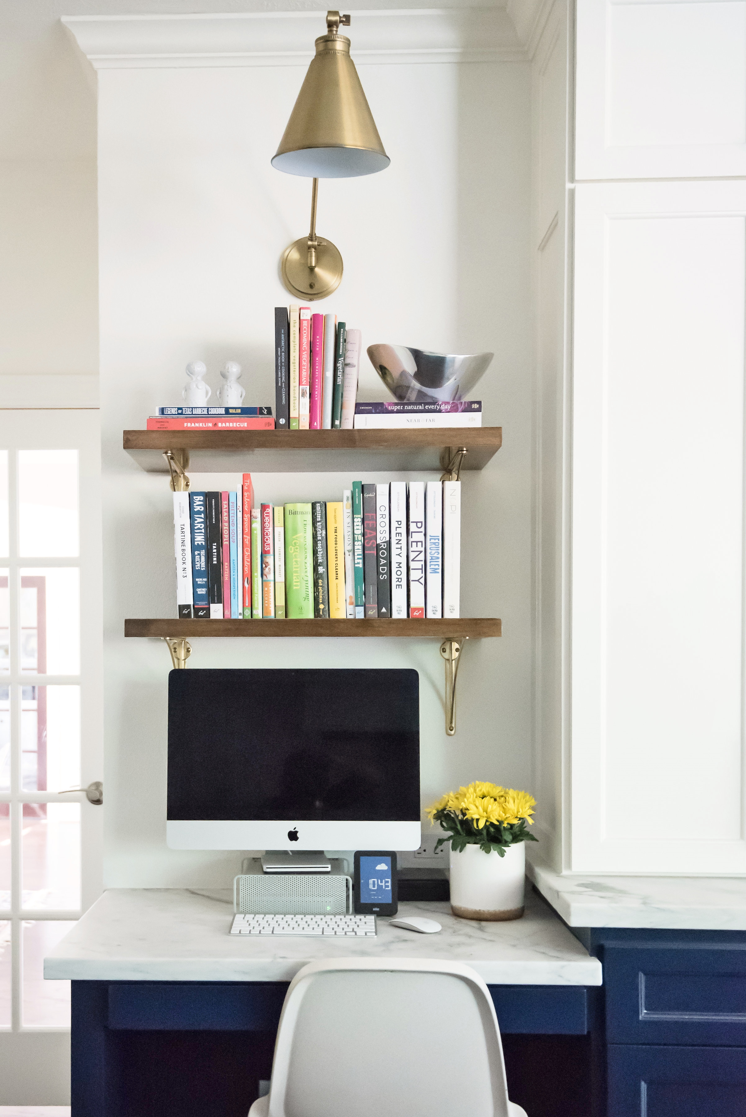 Desk in the kitchen with open shelving above - Carla Aston Designer, Lauren Giles Photographer