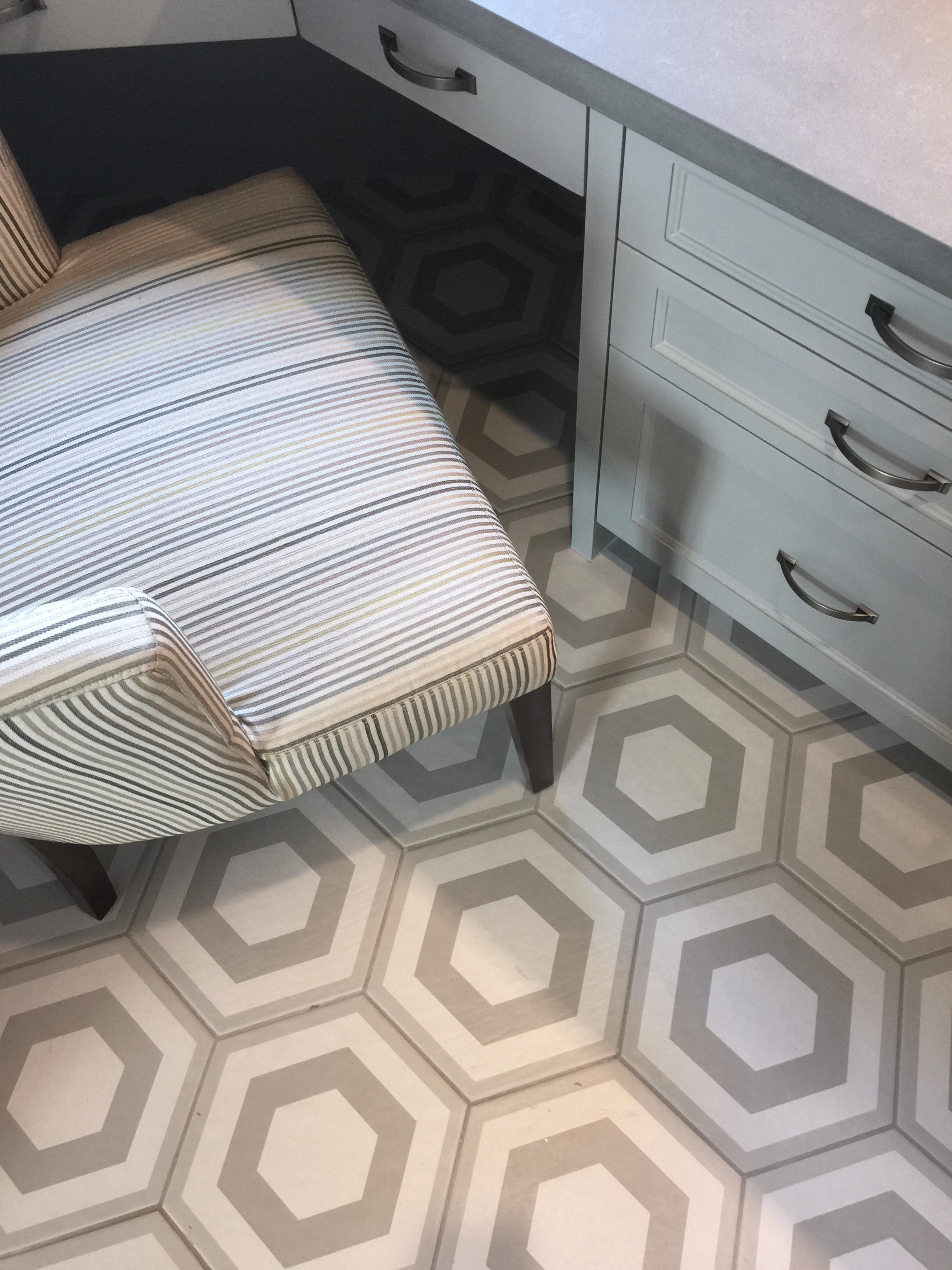 Fab hex tile flooring in the mud room - Peterson Homebuilders