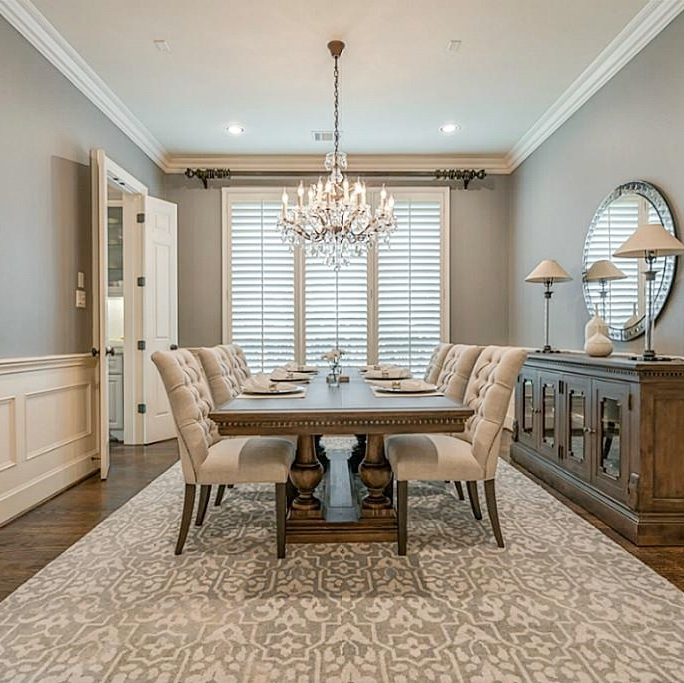After Dining Room with gray walls and creamy color trim | Carla Aston Designer