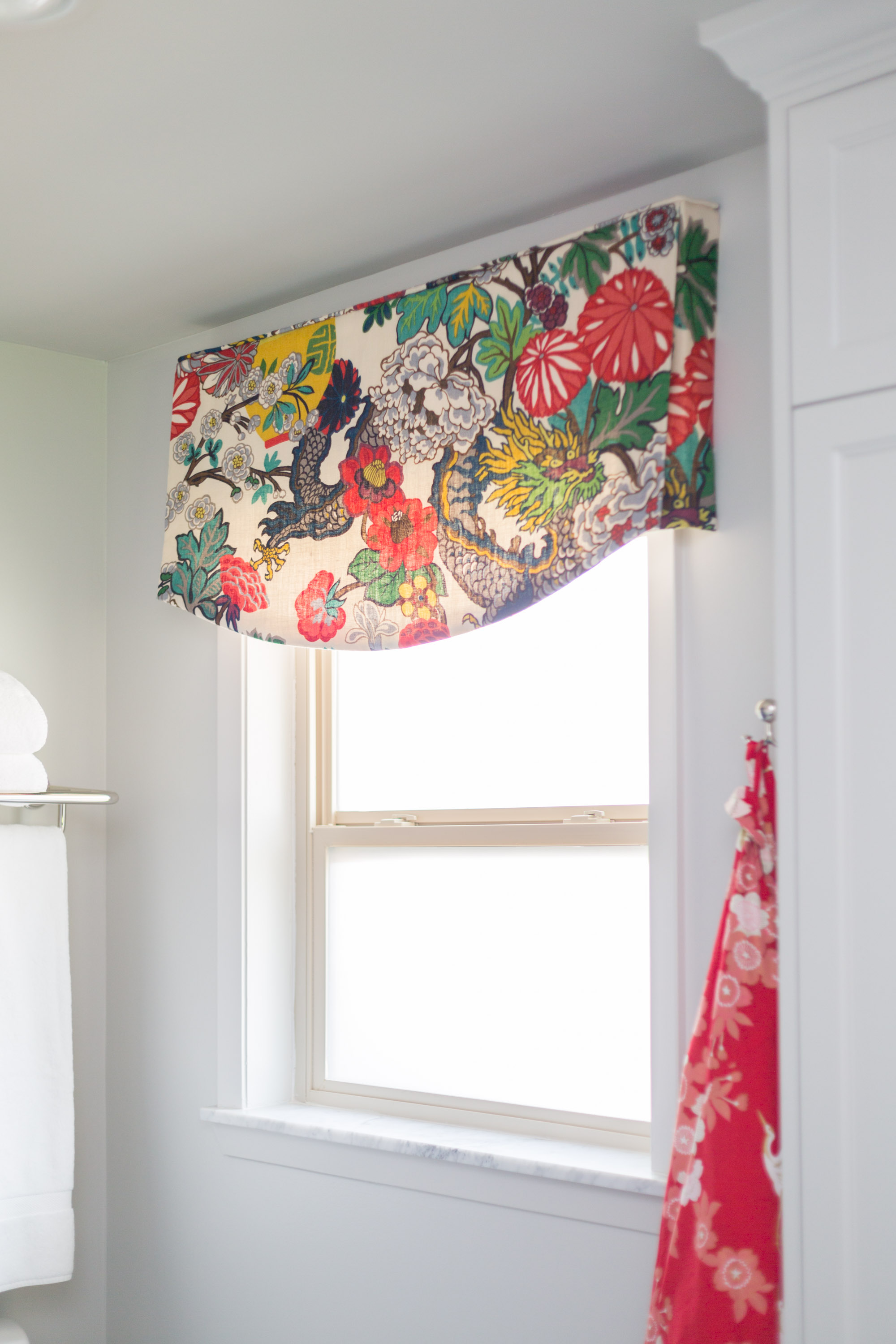 Schumacher Chiang Mai fabric valance at window | Carla Aston, Designer | Tori Aston, Photographer