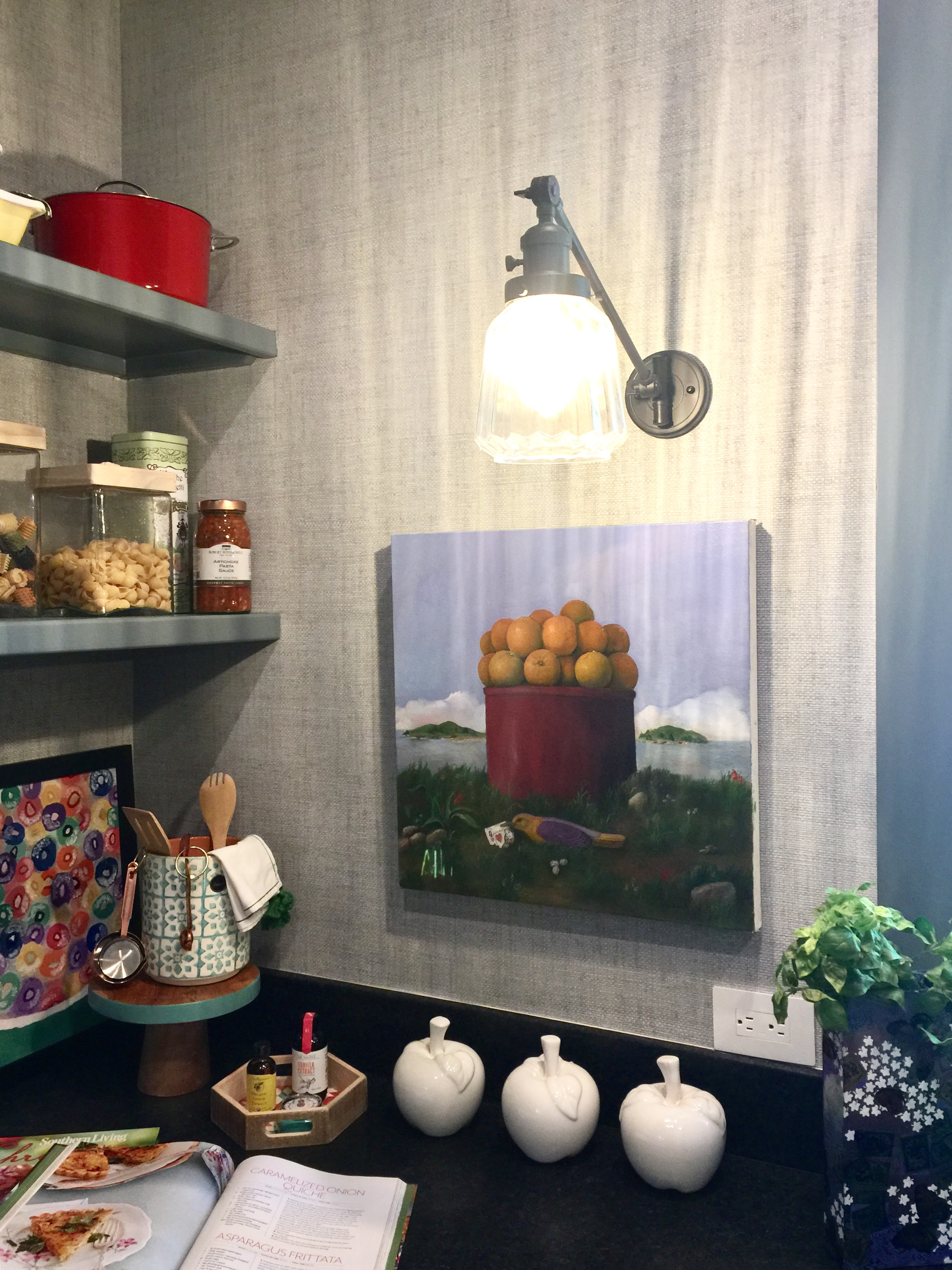 Southern Living Showcase Home - Pantry with vinyl wallcovering and art, Designed by Chairma Design Group