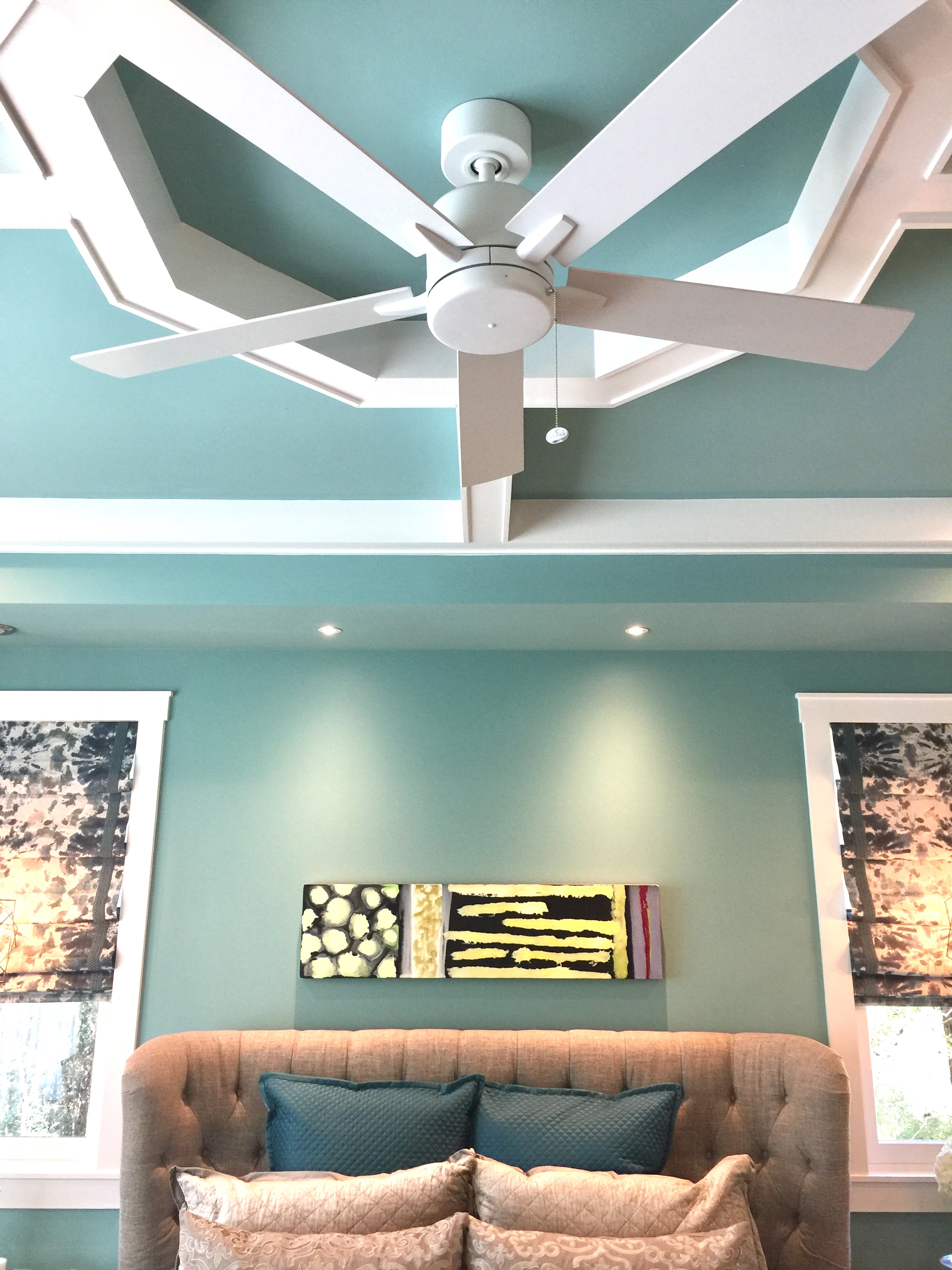 Southern Living Showcase Home - Master Bedroom in Tiffany Blue with coffered ceiling and ceiling fan, Designed by Chairma Design Group #tiffanyblue