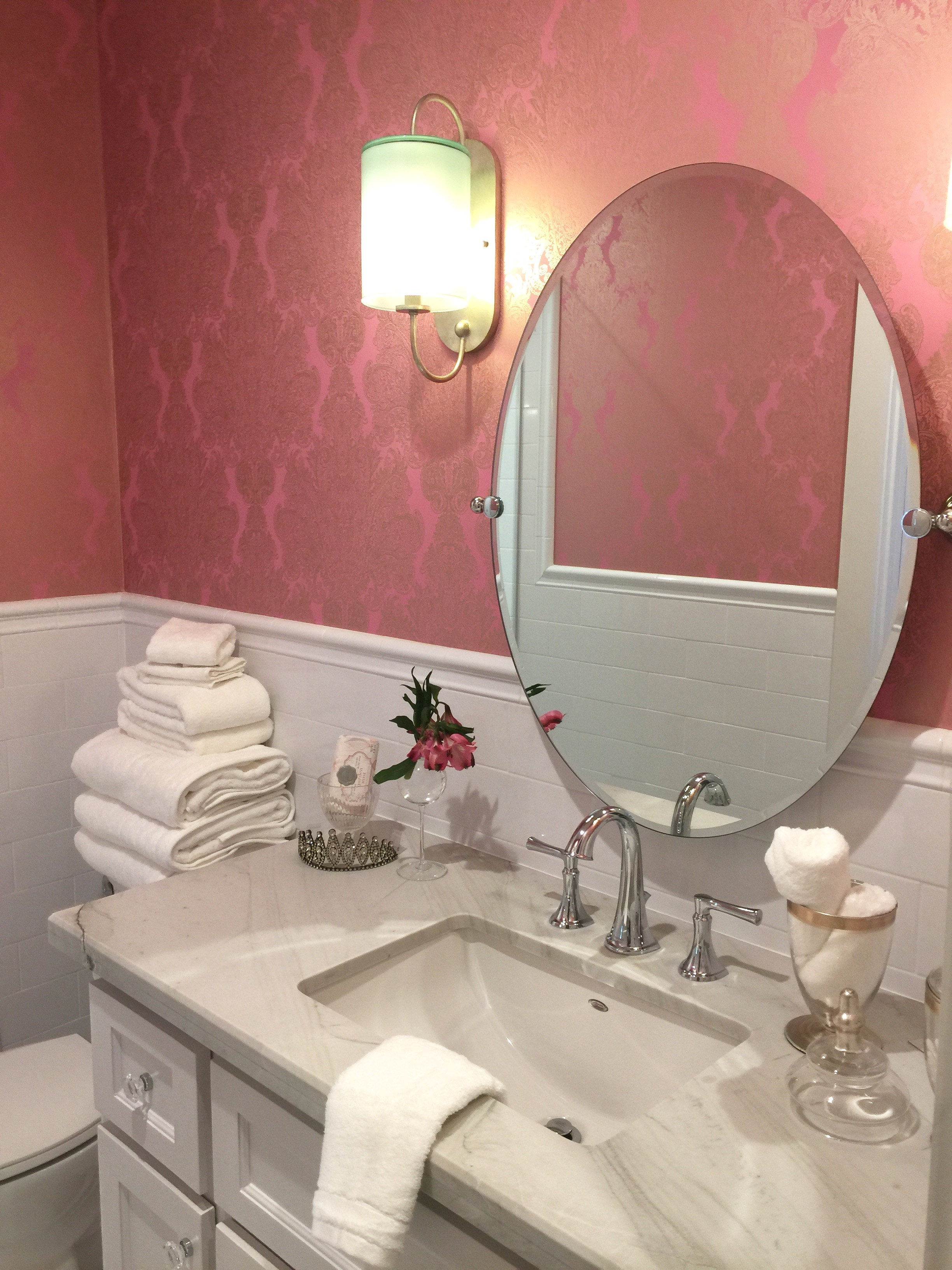 Girl's Bathroom with pretty pink wallpaper - Southern Living Showcase Home, Designed by Chairma Design Group