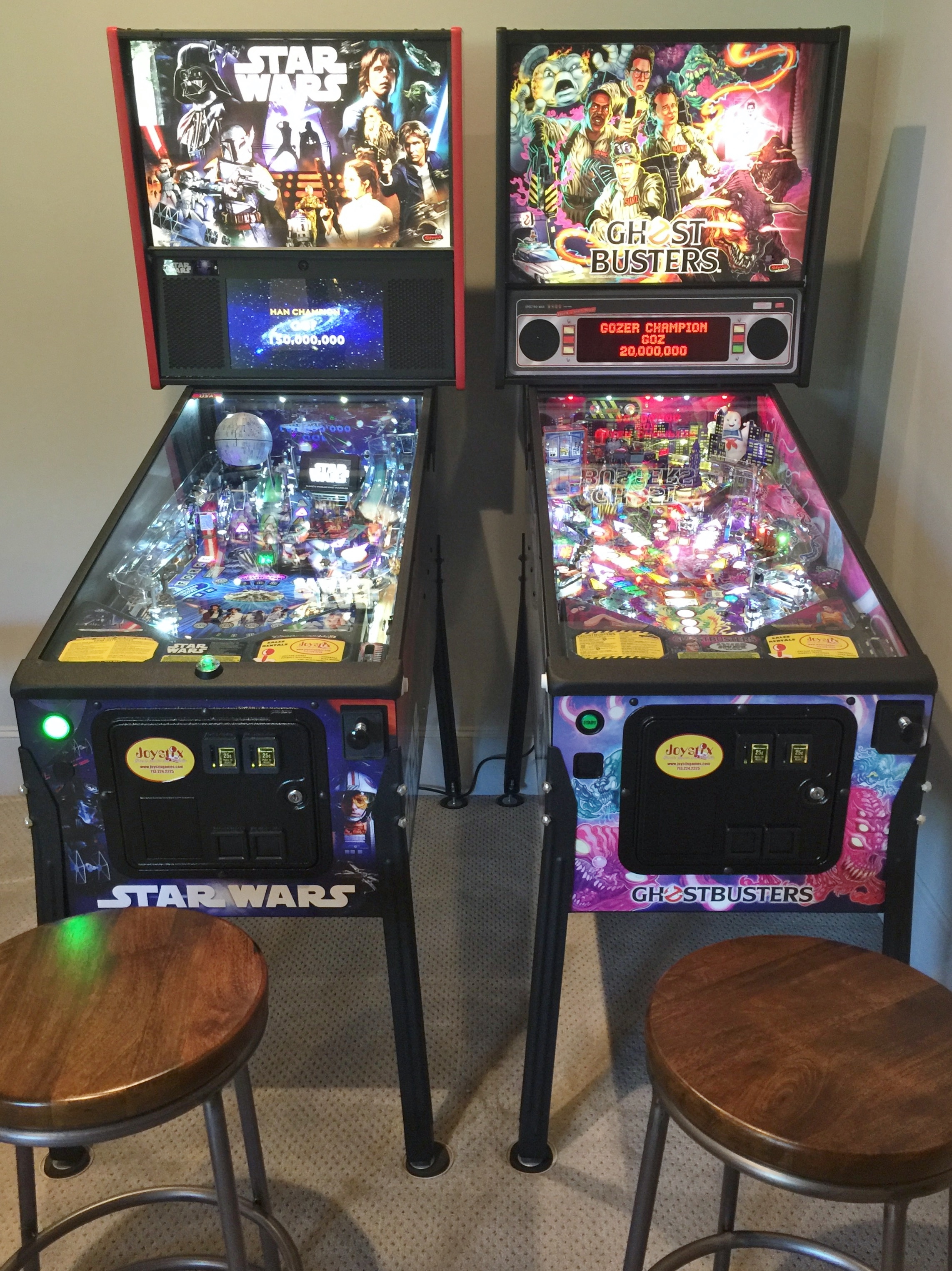 Joystix pinball machines in media game room - Southern Living Showcase Home, Designed by Chairma Design Group