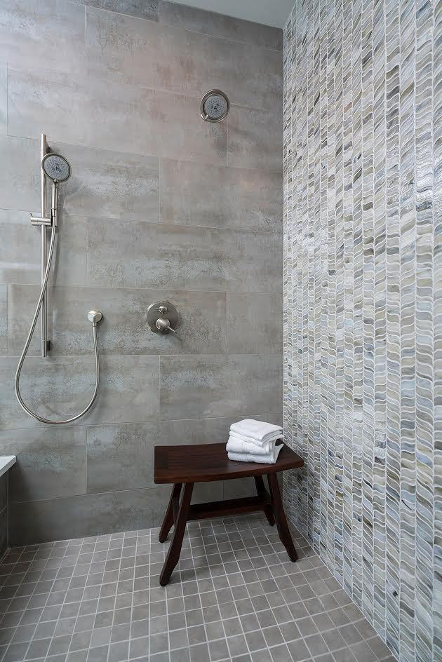 DESIGNER SPOTLIGHT - Cheryl Kees Clendenon, #shower #mosaictile #tilewall #mosaictilewall #bathroom