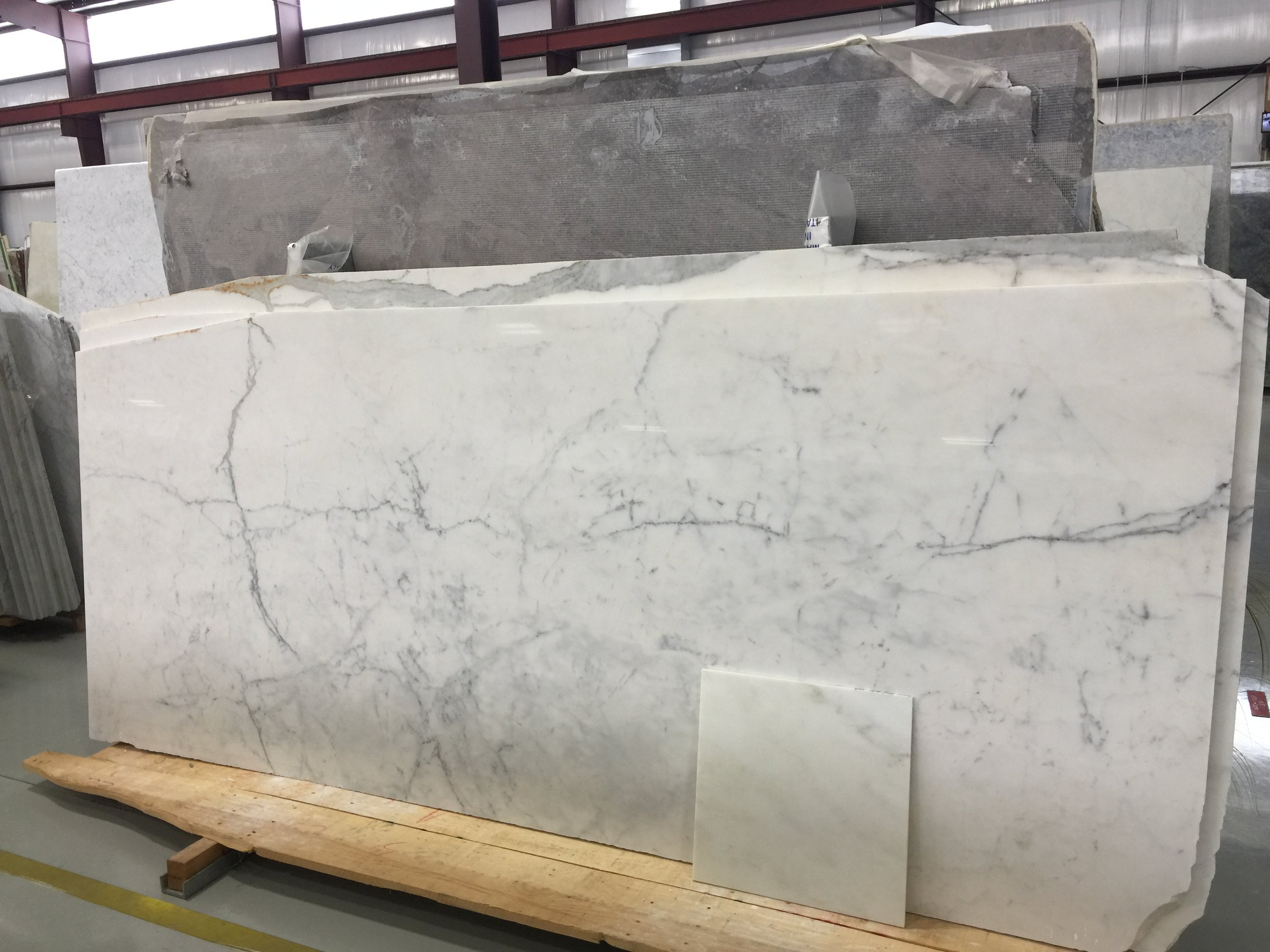 Marble slab for countertops in niches and powder room