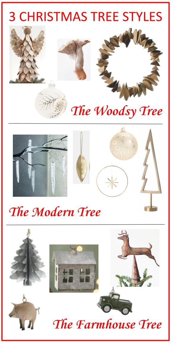 3 Christmas trees -  Woodsy, Modern, and Farmhouse styles, with links to shop!