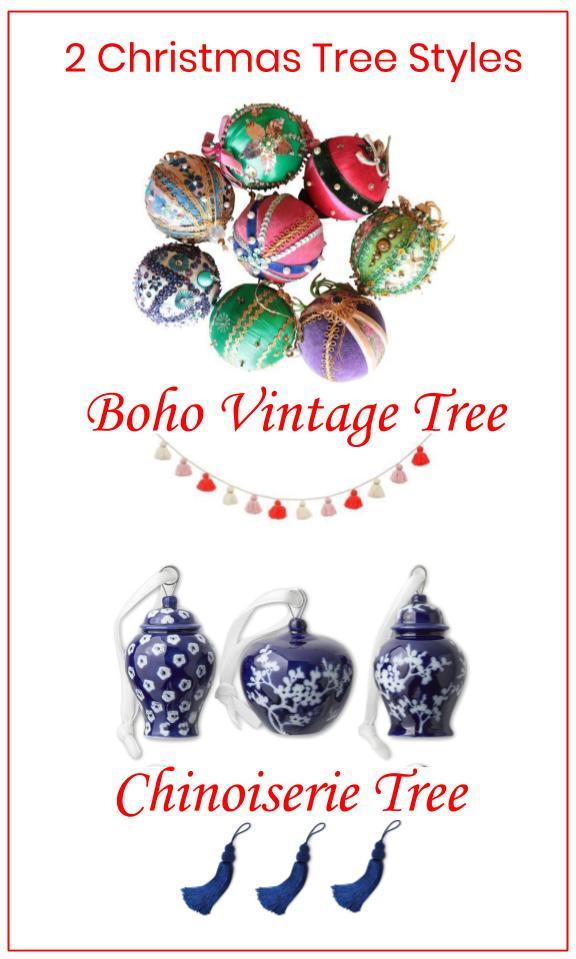 Boho/Vintage Tree and Chinoiserie Tree Christmas tree decorations